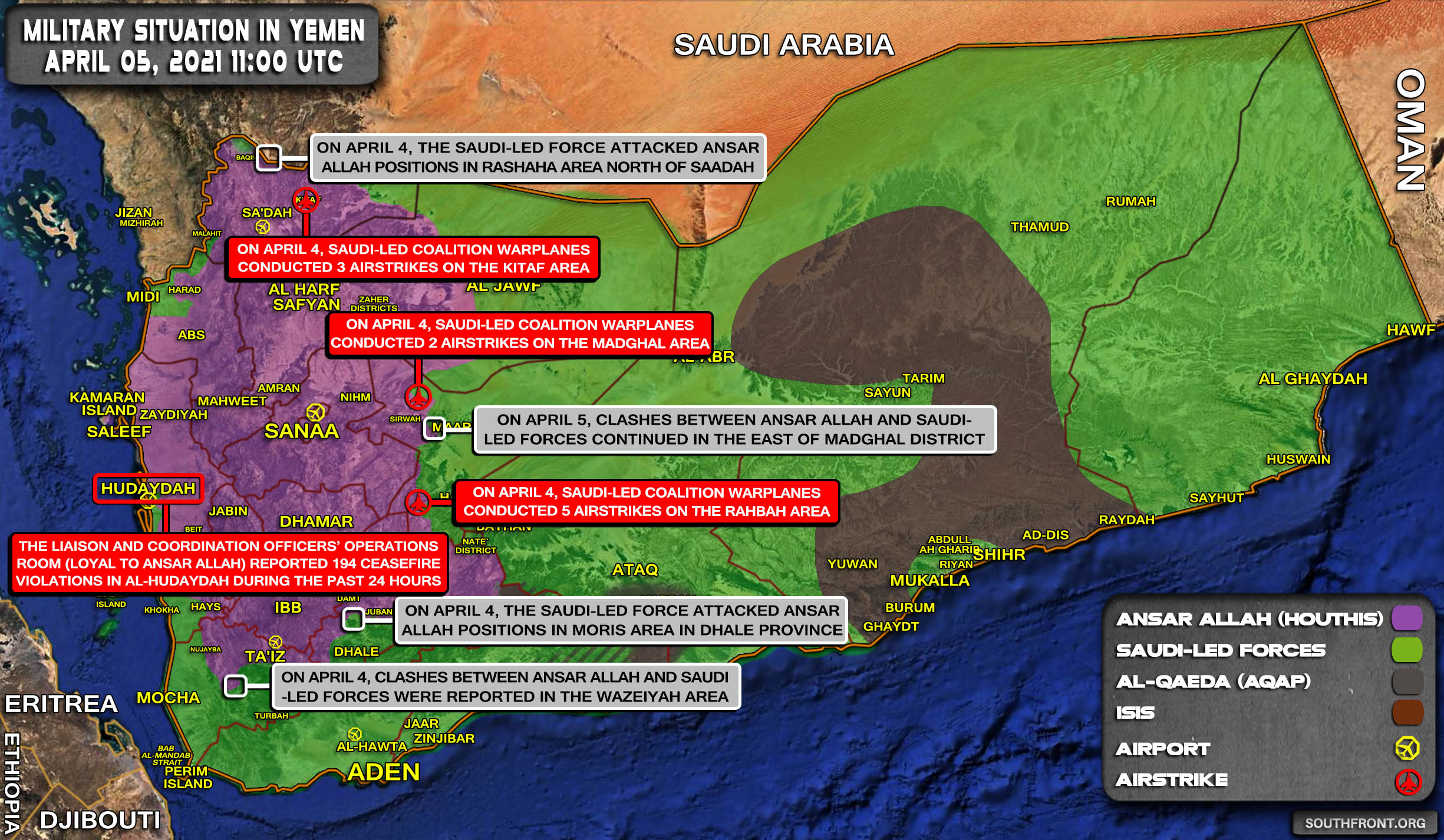 Military Situation In Yemen On April 5, 2021 (Map Update)