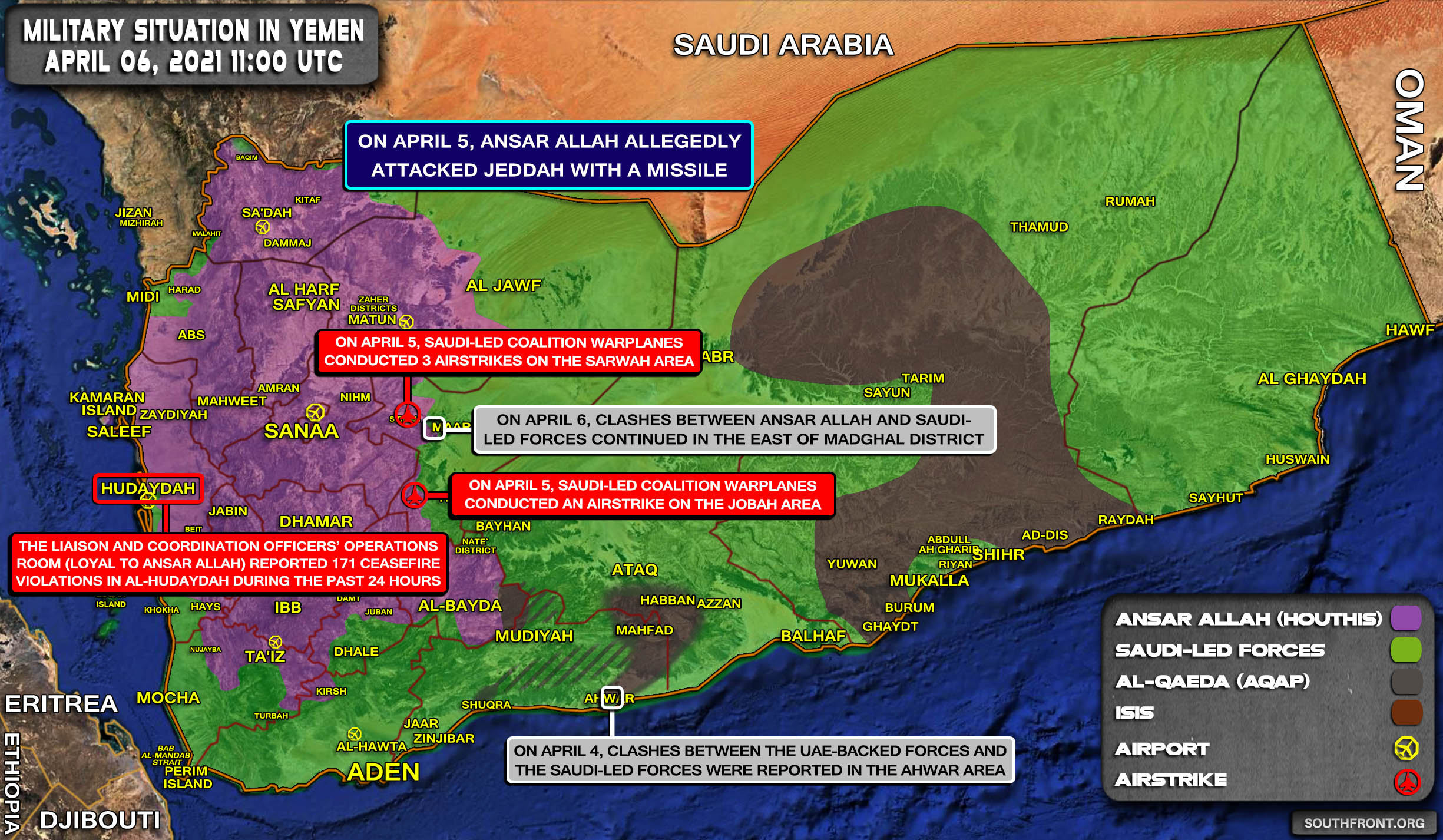 Military Situation In Yemen On April 6, 2021 (Map Update)