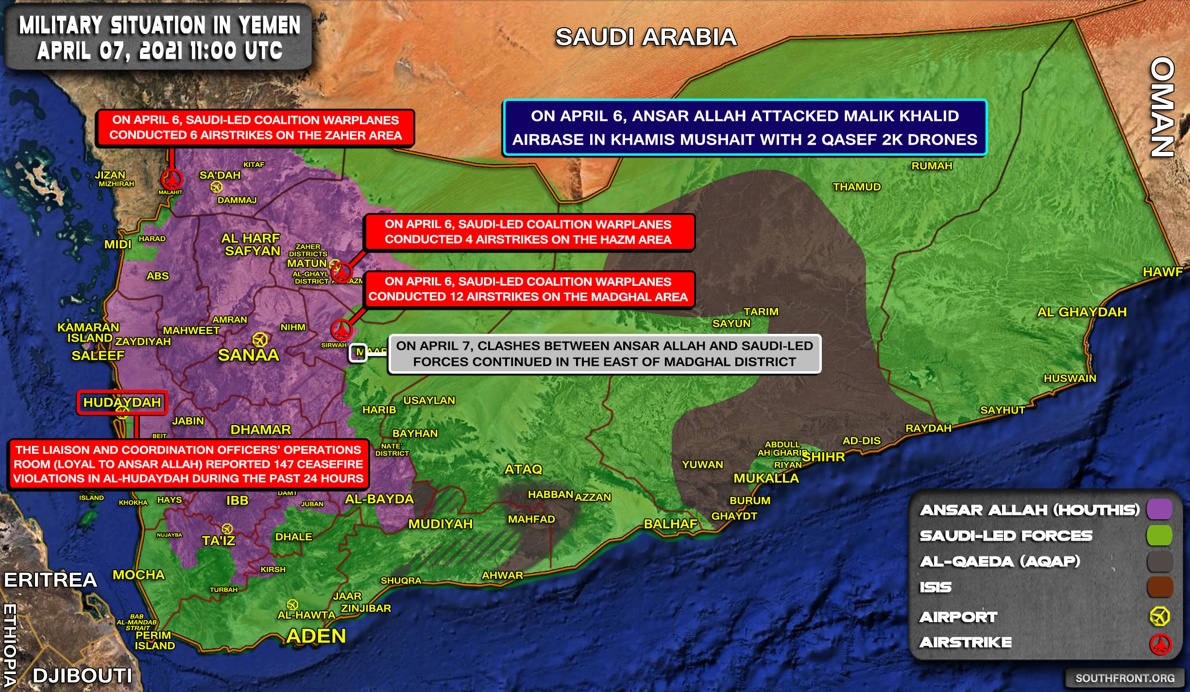 Military Situation In Yemen On April 7, 2021 (Map Update)
