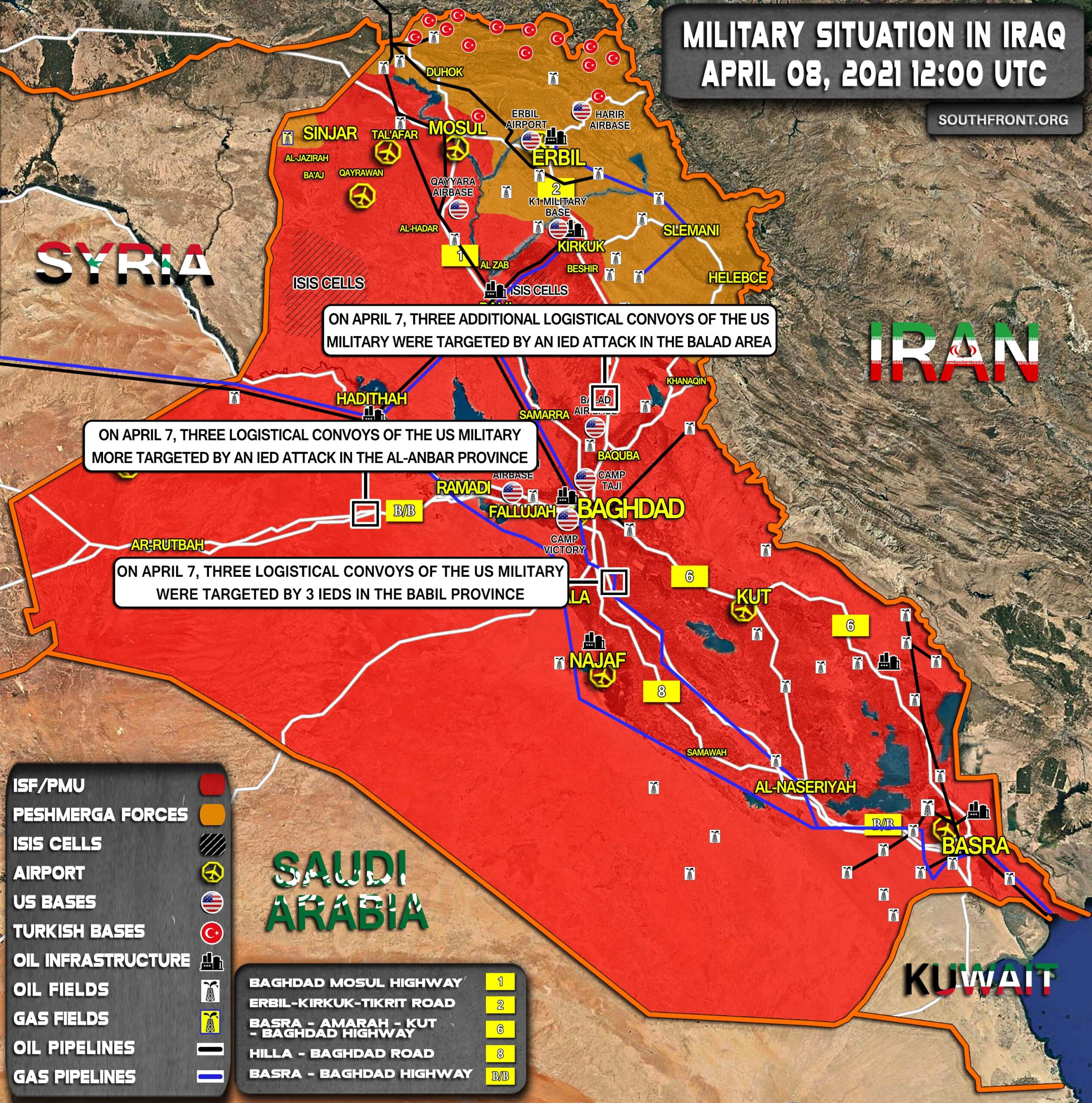 Military Situation In Iraq On April 8, 2021 (Map Update)