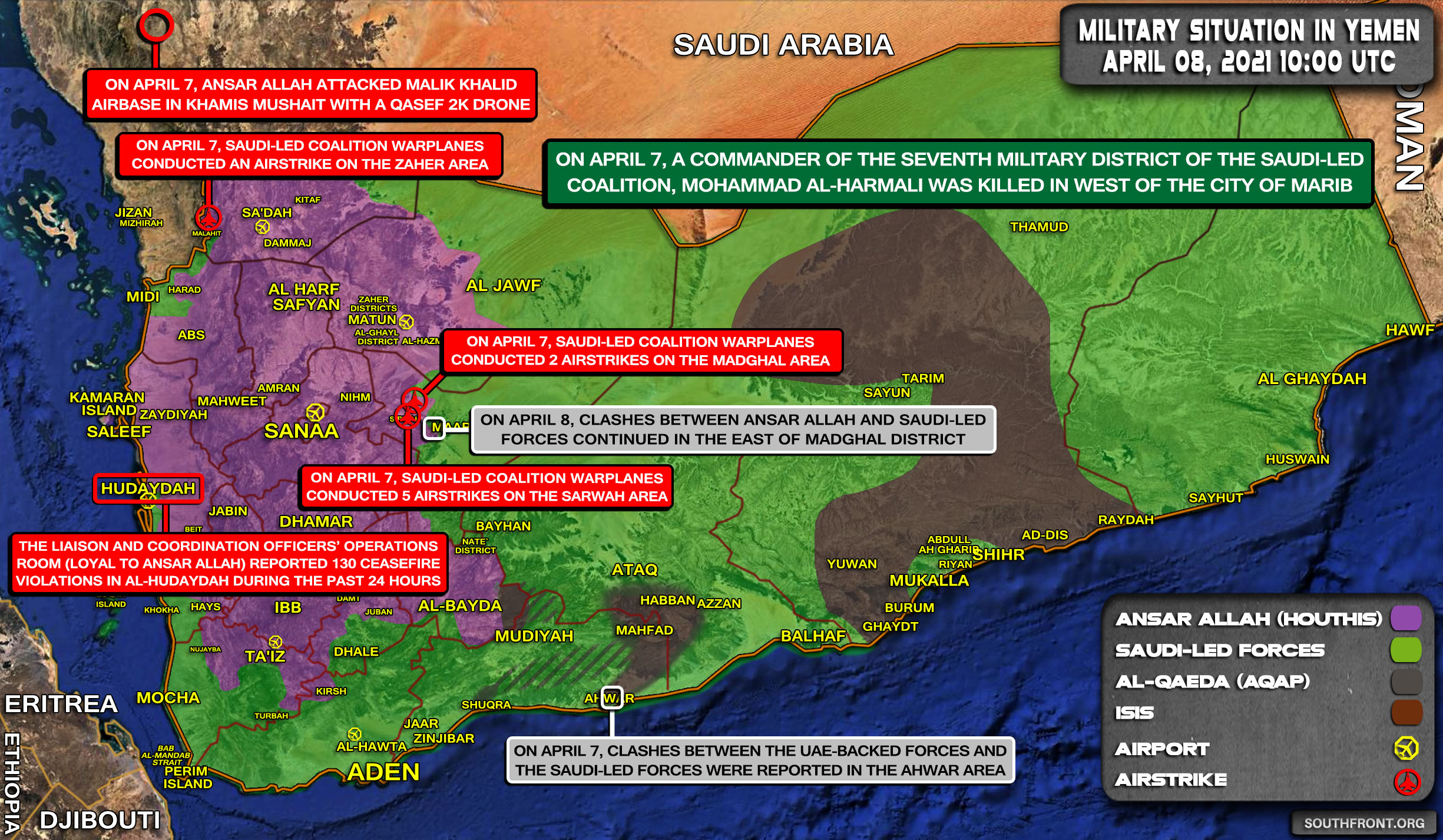 Military Situation In Yemen On April 8, 2021 (Map Update)