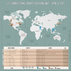 Locations Of US Carrier Strike Groups – April 8, 2021
