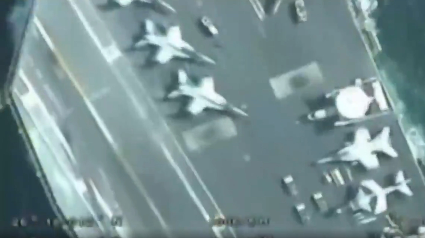 Iranian Revolutionary Guards Release Close Drone Footage Of US Aircraft Carrier