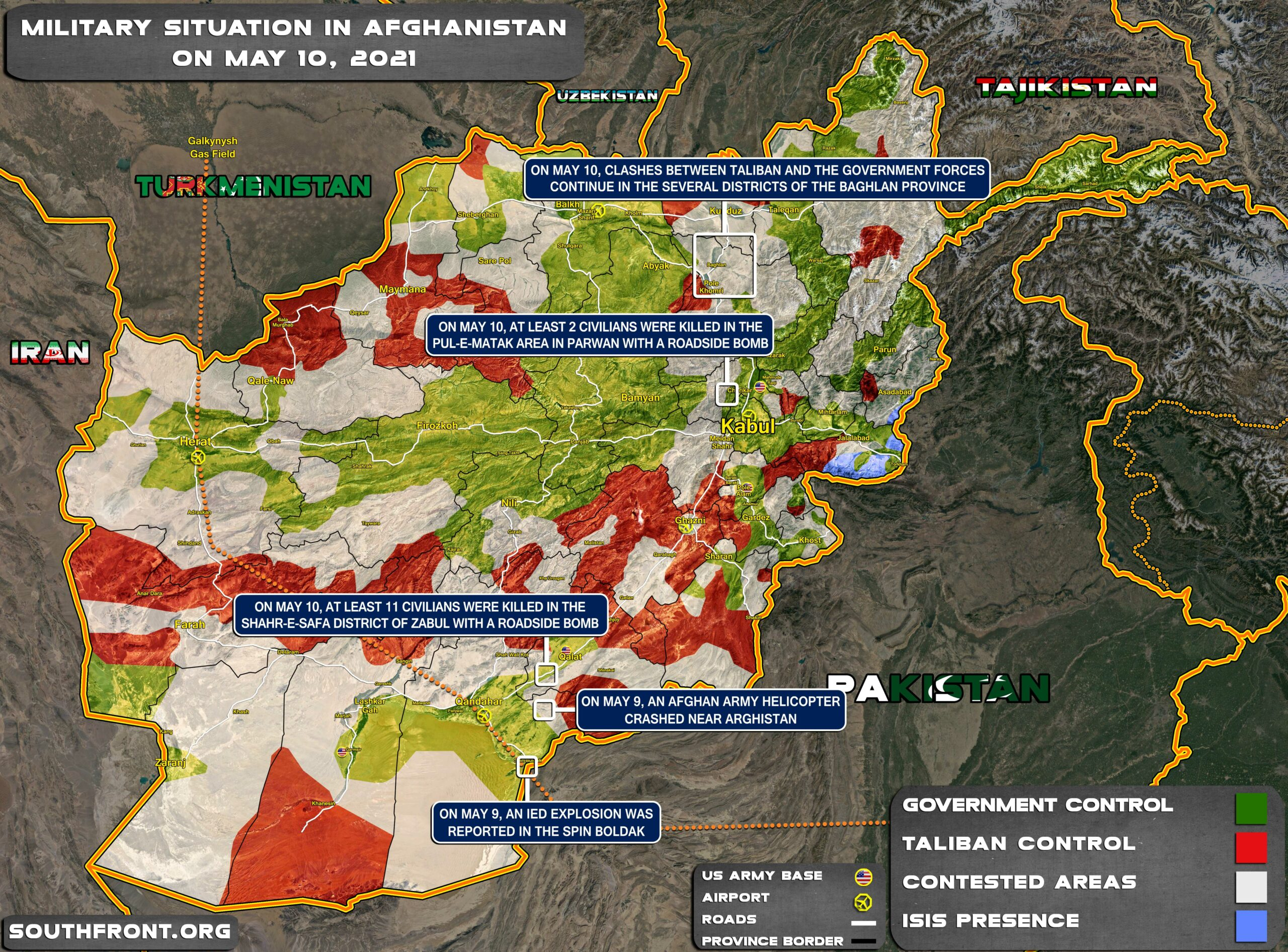 Military Situation In Afghanistan On May 10, 2021 (Map Update)