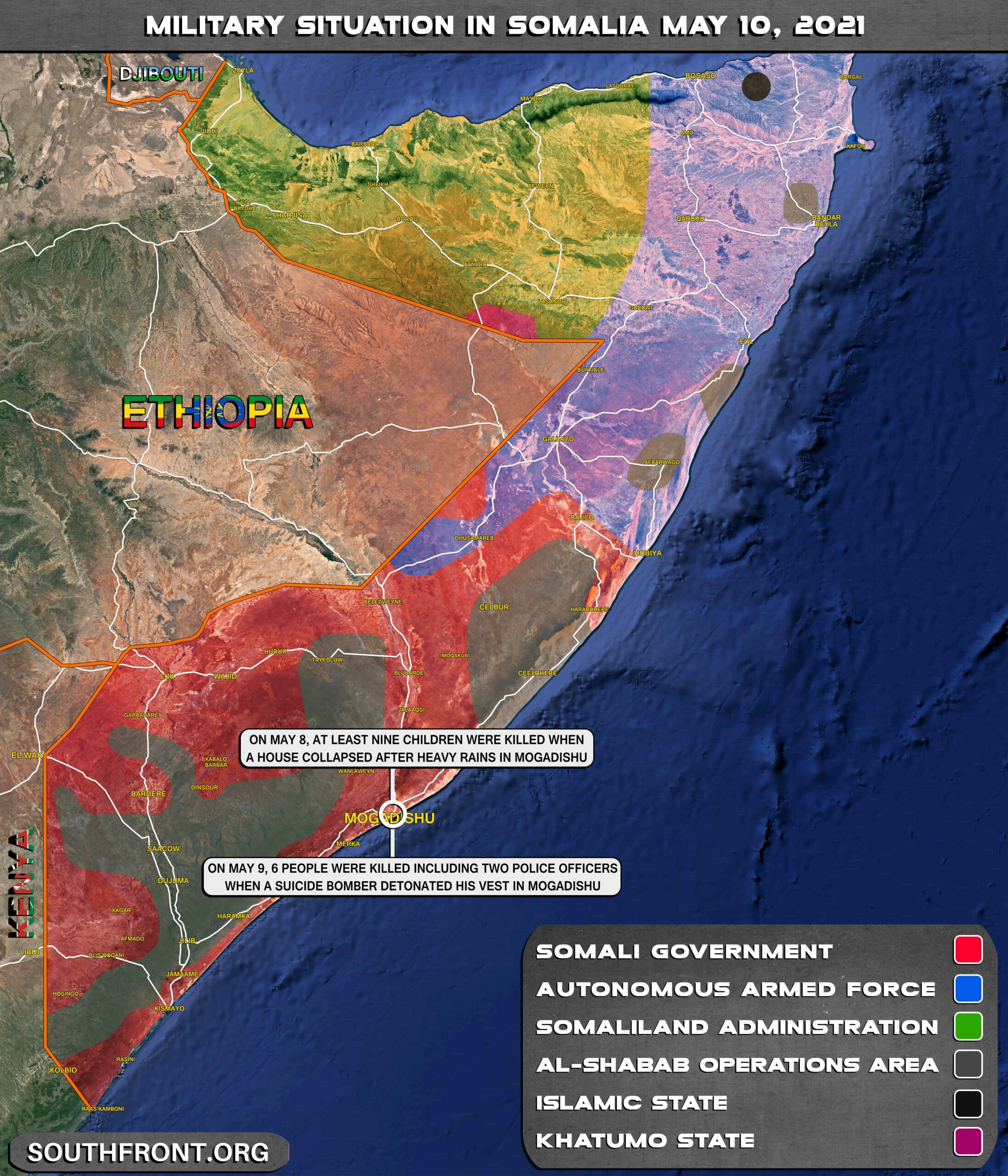 Military Situation In Somalia On May 10, 2021 (Map Update)