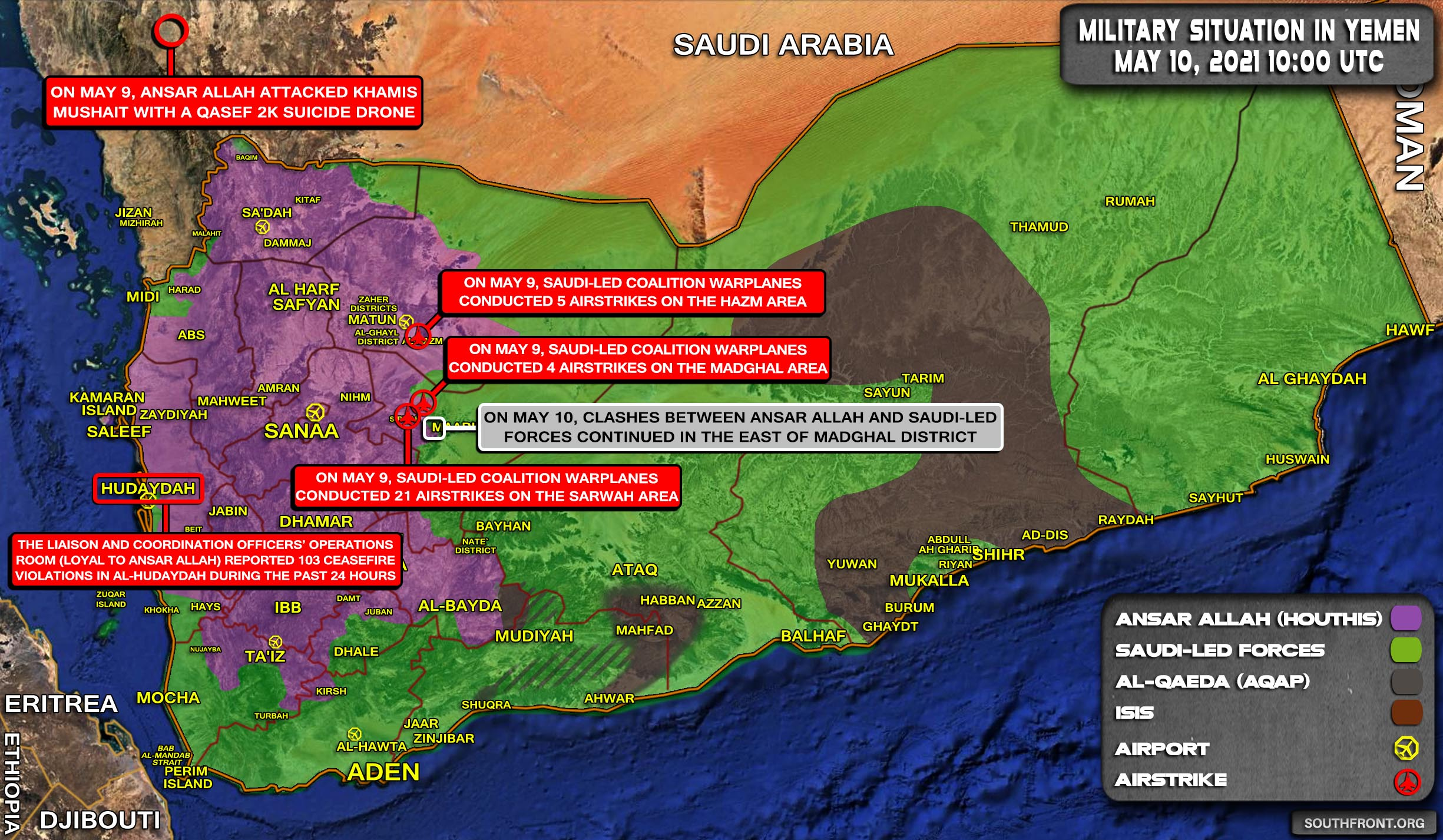 Military Situation In Yemen On May 10, 2021 (Map Update)