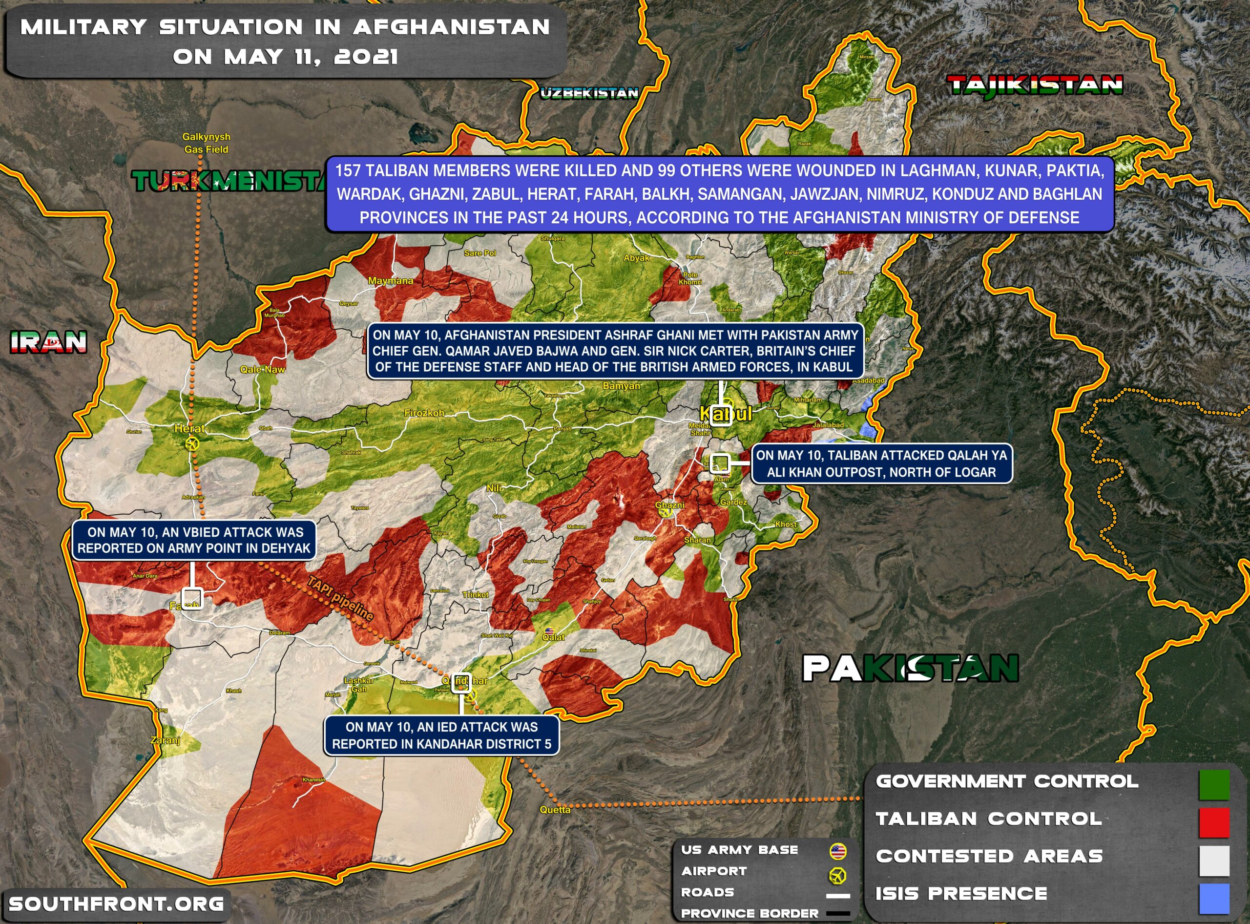 Military Situation In Afghanistan On May 11, 2021 (Map Update)