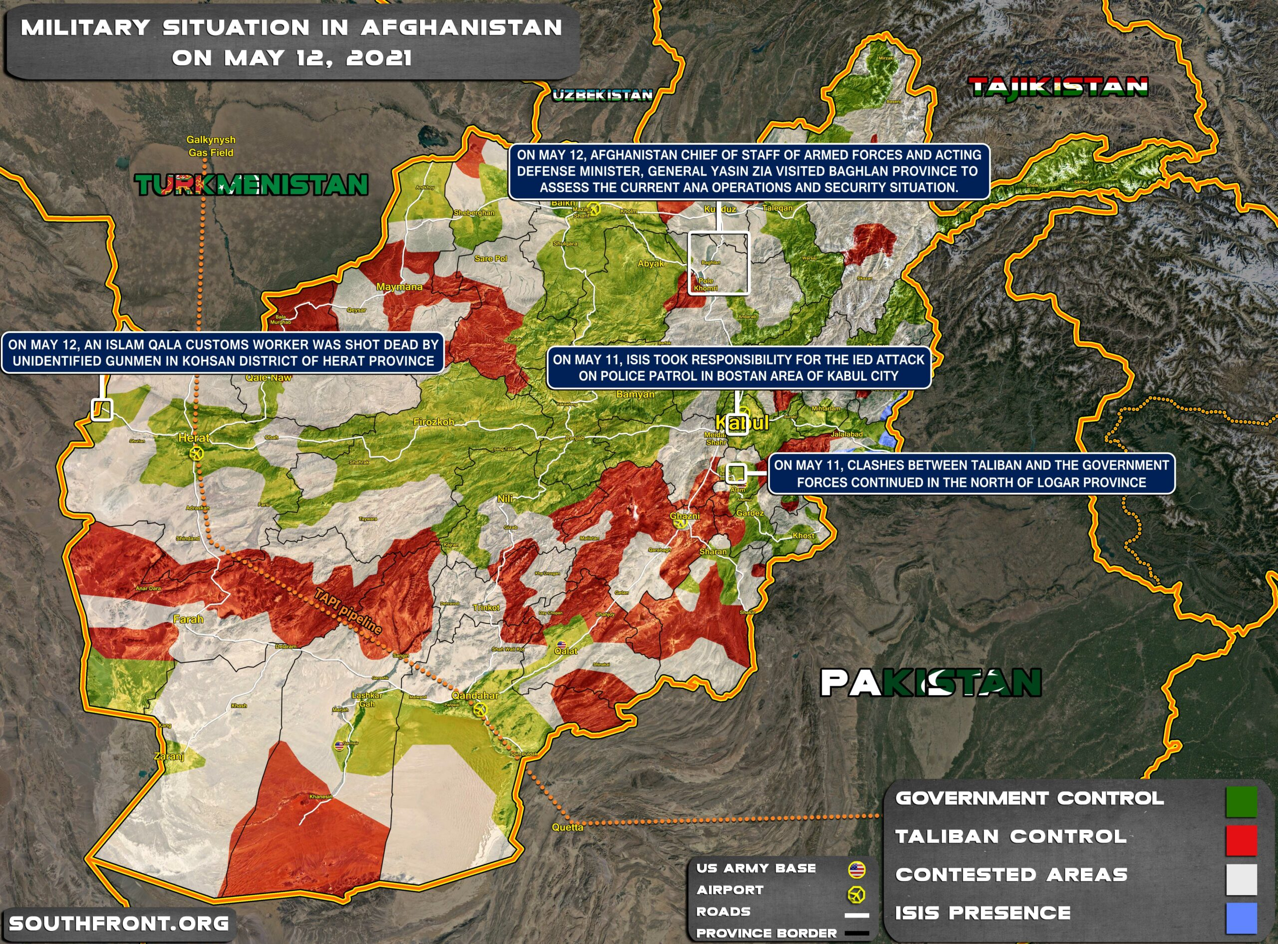 Military Situation In Afghanistan On May 12, 2021 (Map Update)