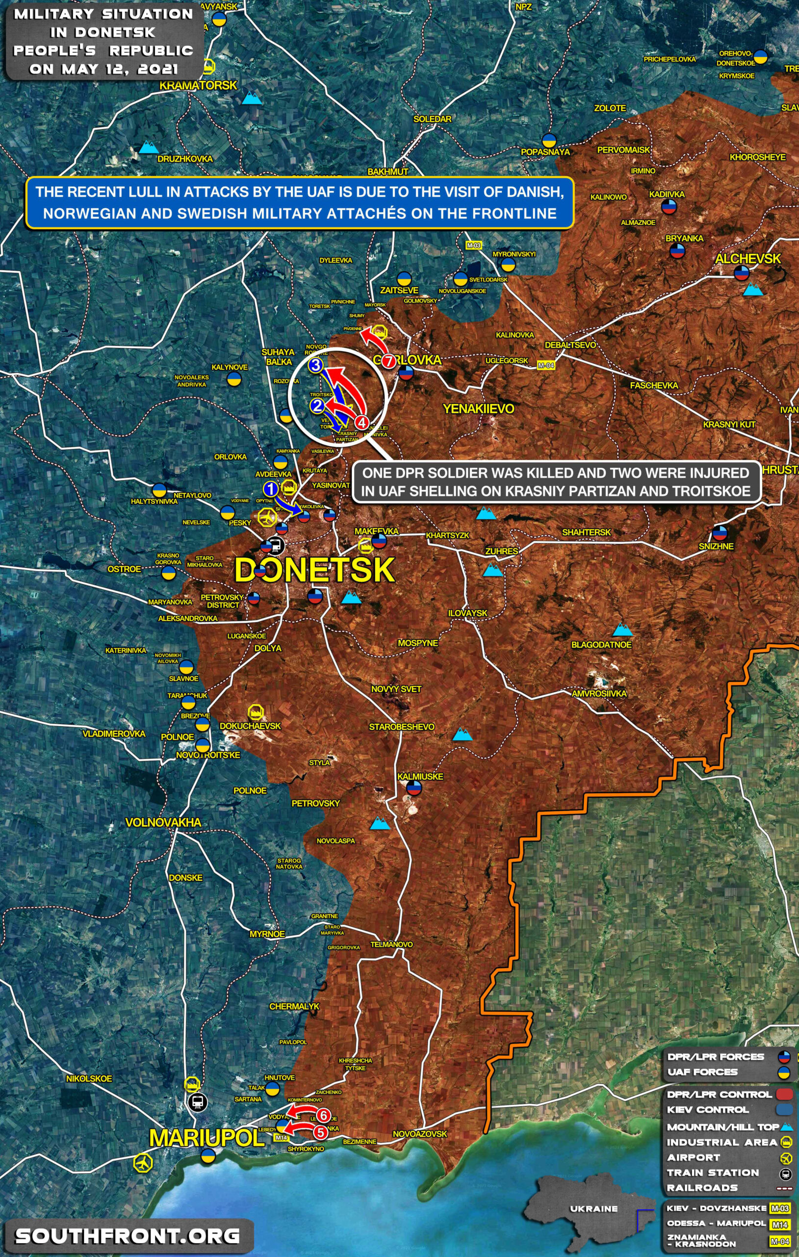 Hypocritical Calm In Eastern Ukraine Due To Foreign Military Attaché Visit (Map Update)