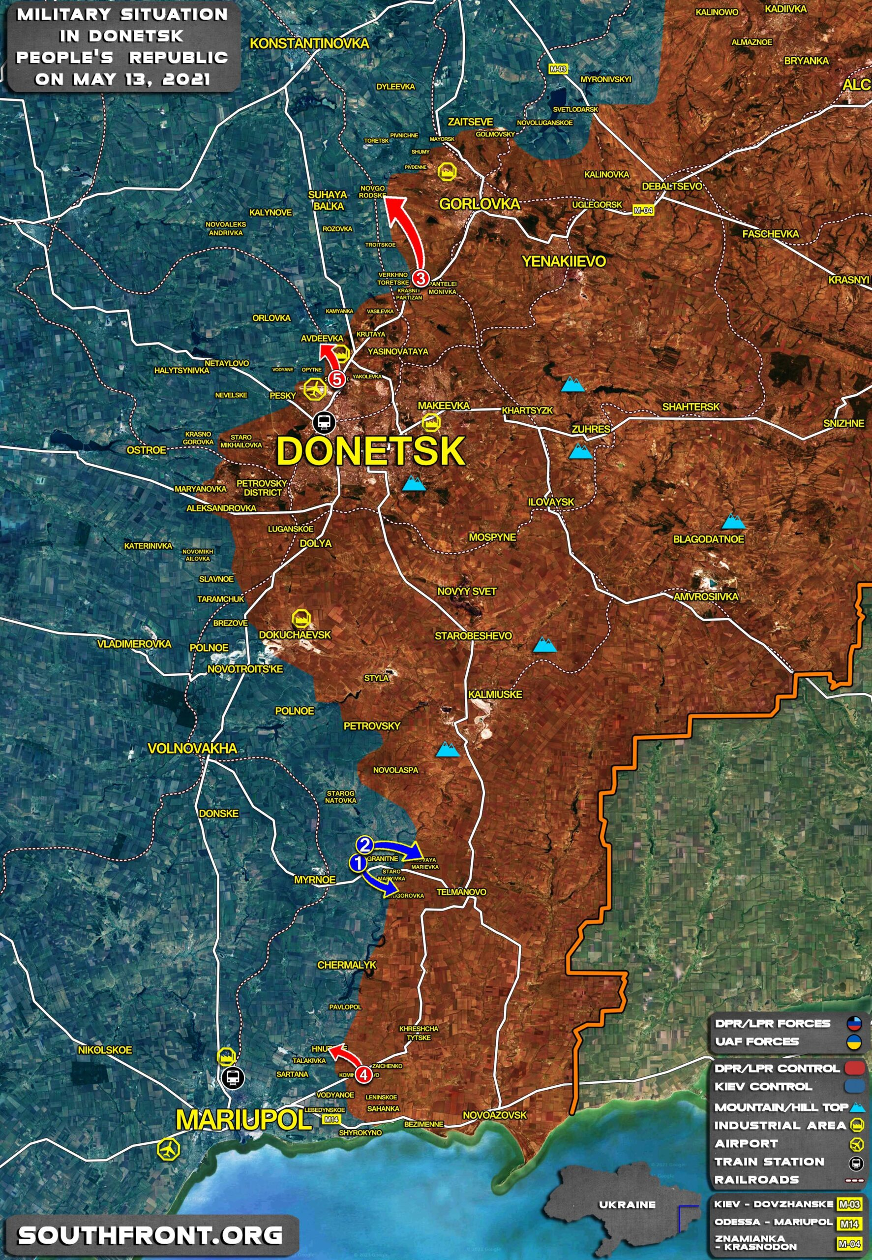 Military Situation In Donetsk People's Republic On May 13, 2021 (Map Update)