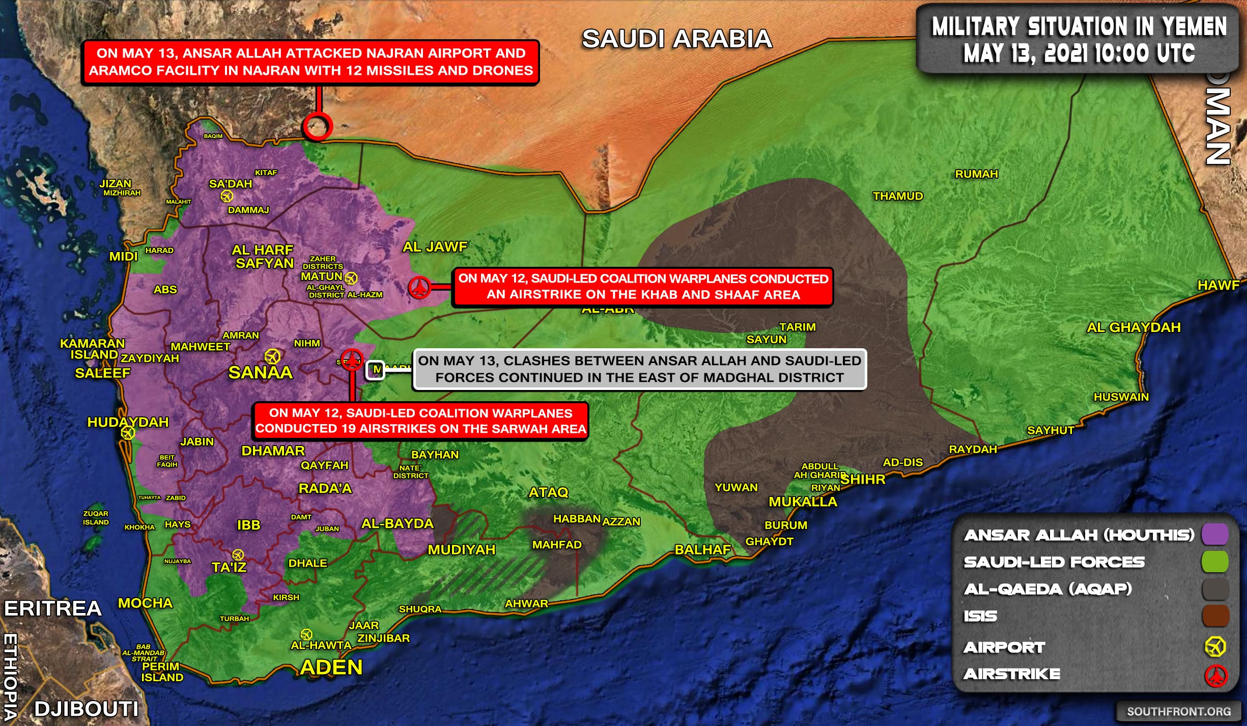 Military Situation In Yemen On May 13, 2021 (Map Update)