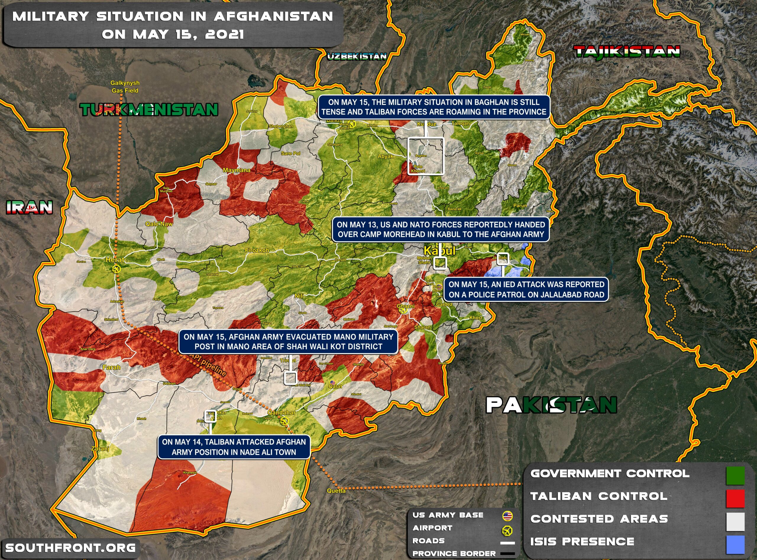 Military Situation In Afghanistan On May 15, 2021 (Map Update)