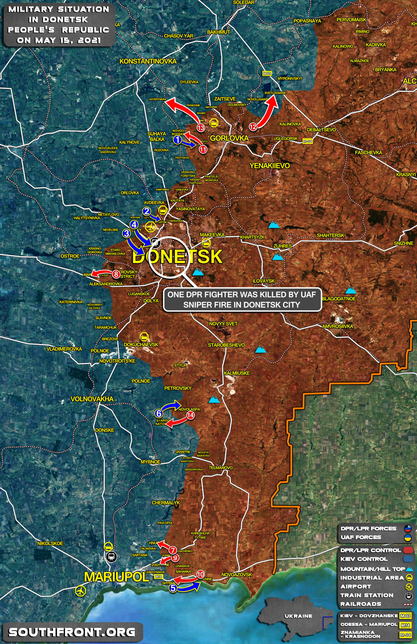 Military Situation In Donetsk People's Republic On May 15, 2021 (Map Update)