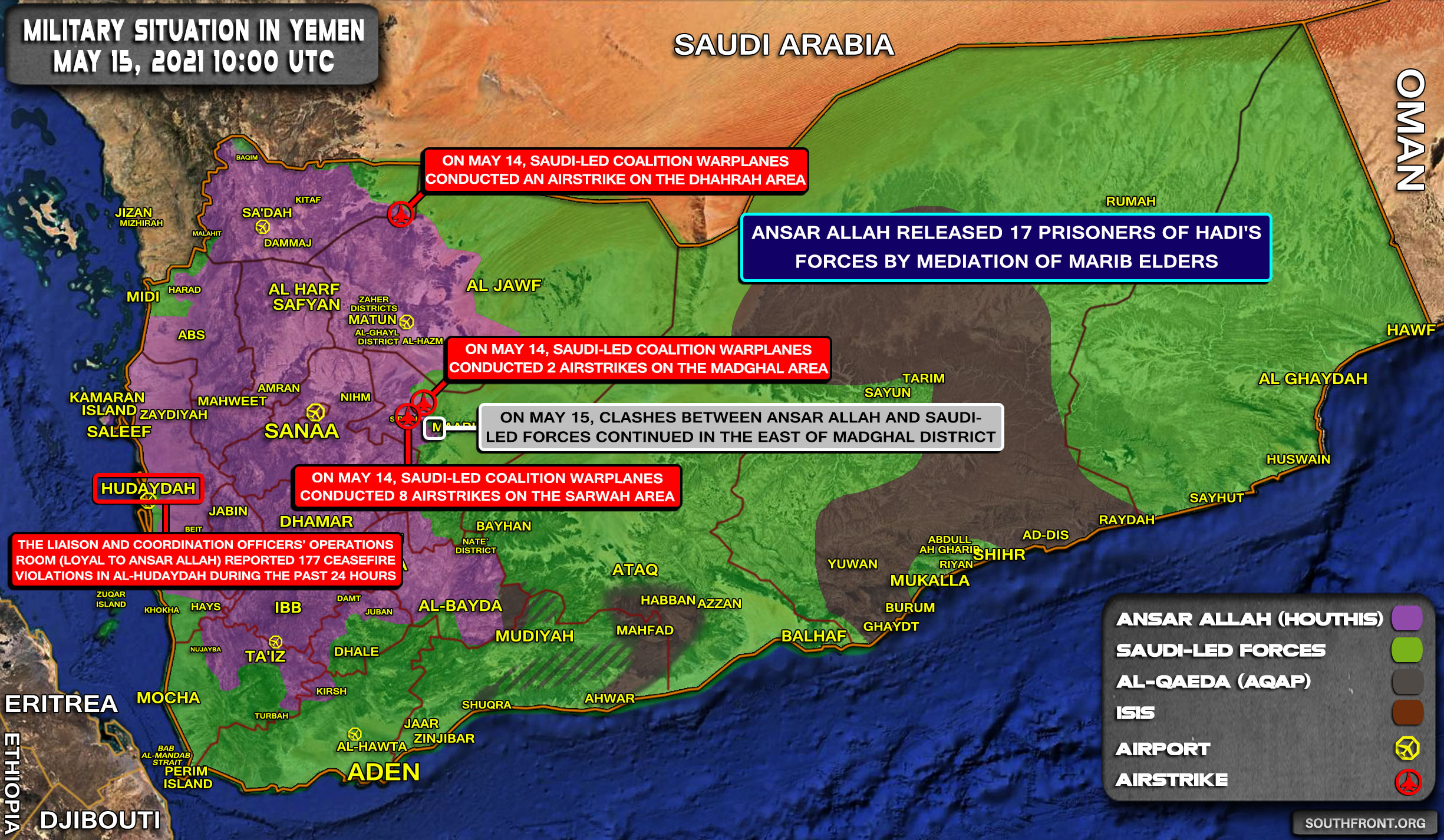 Military Situation In Yemen On May 15, 2021 (Map Update)