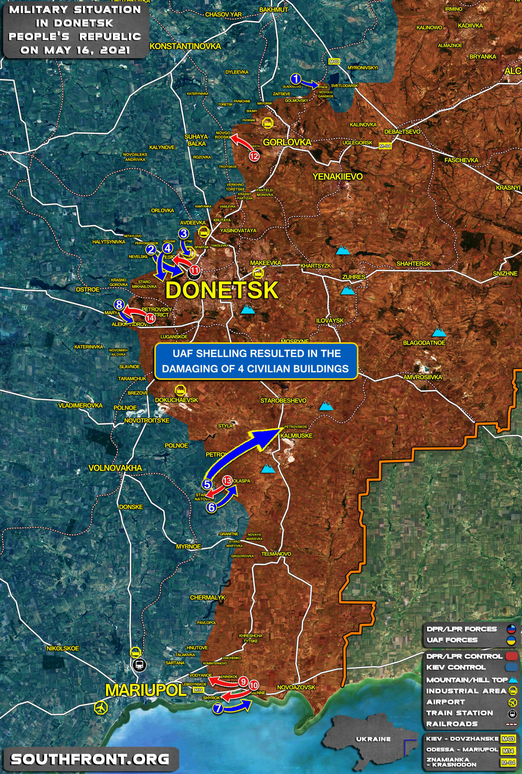Military Situation In Donetsk People's Republic On May 16, 2021 (Map Update)