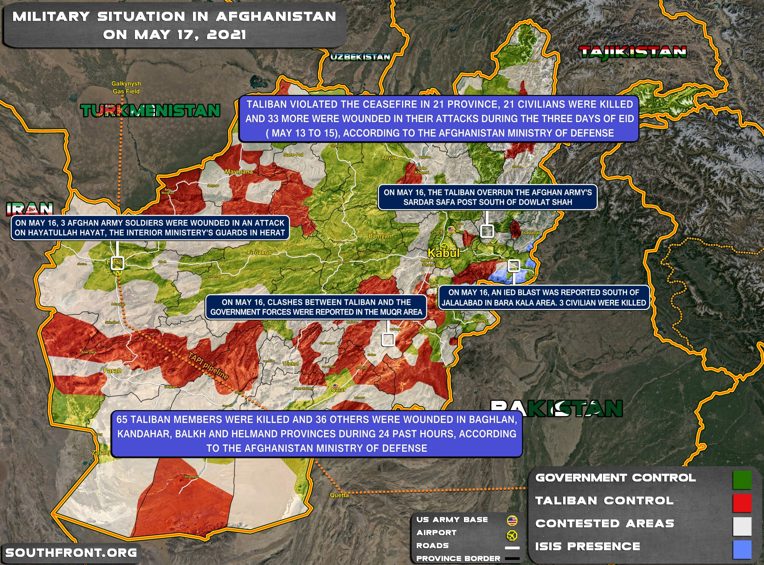 Military Situation In Afghanistan On May 17, 2021 (Map Update)