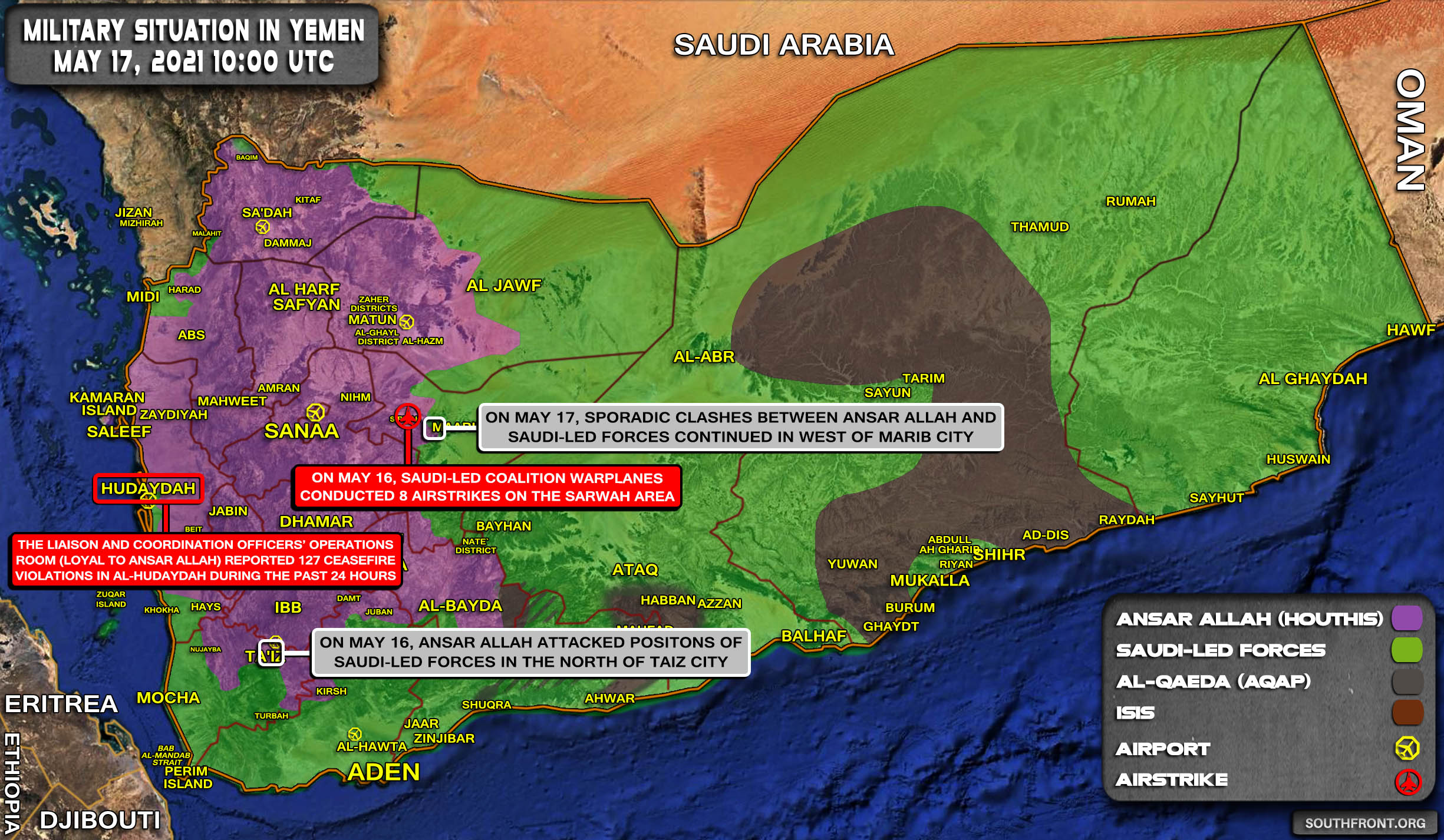 Military Situation In Yemen On May 17, 2021 (Map Update)