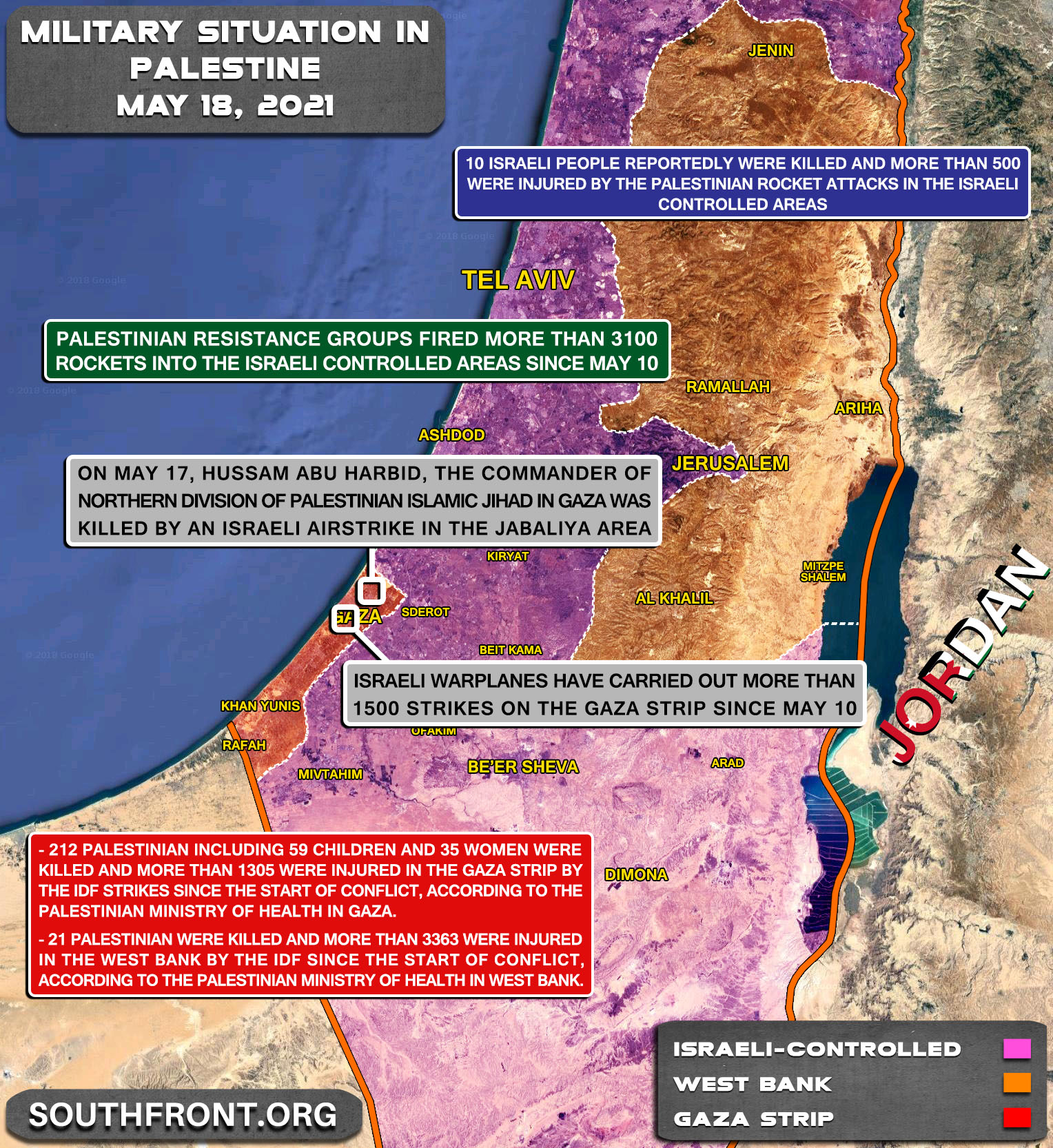 Military Situation In The West Bank And Gaza Strip On May 18th, 2021 (Map Update)