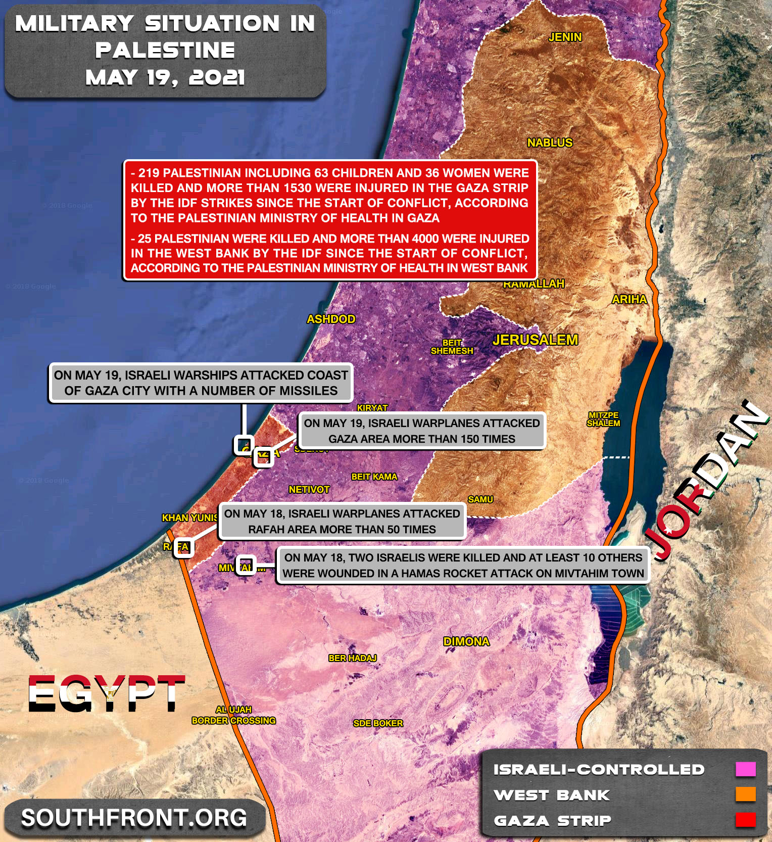 Military Situation In The West Bank And Gaza Strip On May 19, 2021 (Map Update)