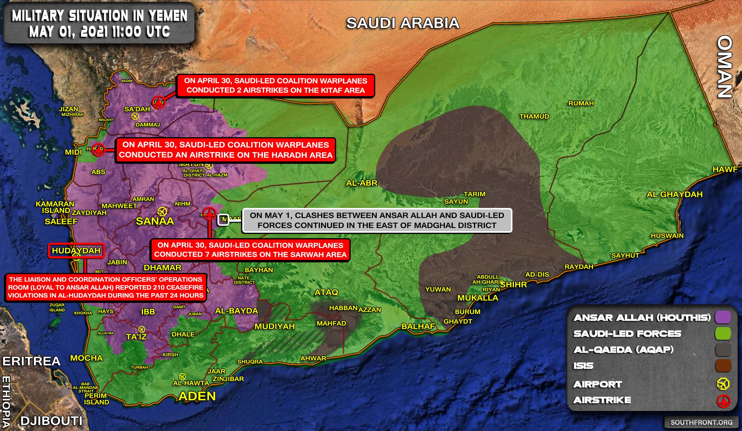 Military Situation In Yemen On May 1, 2021 (Map Update)