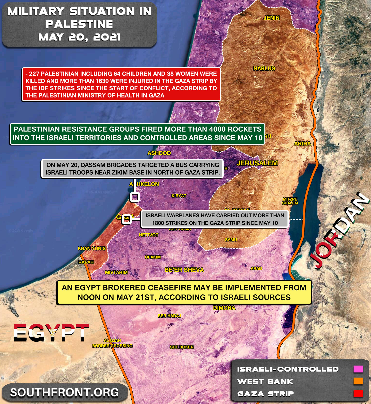 Military Situation In The West Bank And Gaza Strip On May 20, 2021 (Map Update)