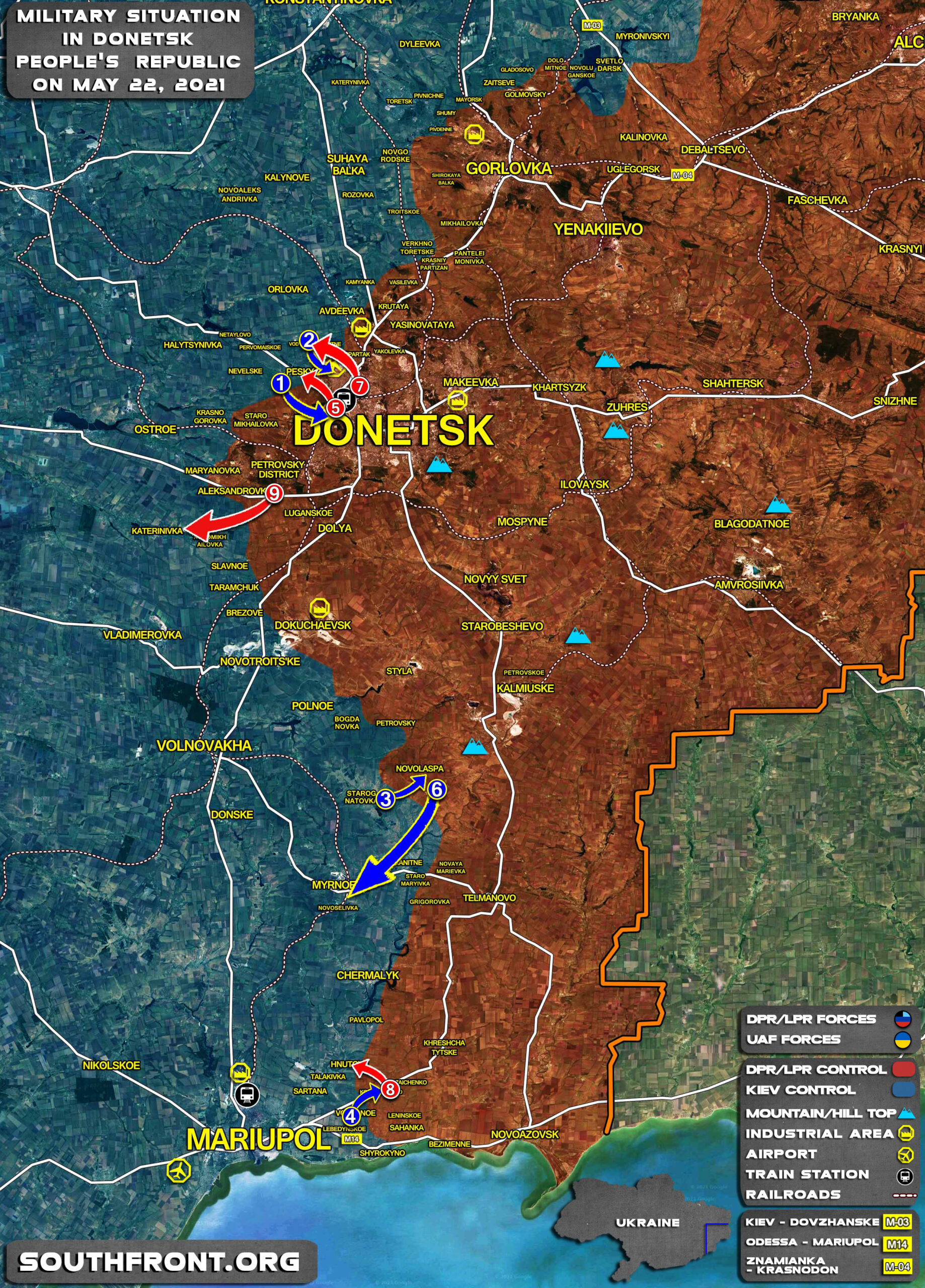 Military Situation In Donetsk People's Republic On May 22, 2021 (Map Update)