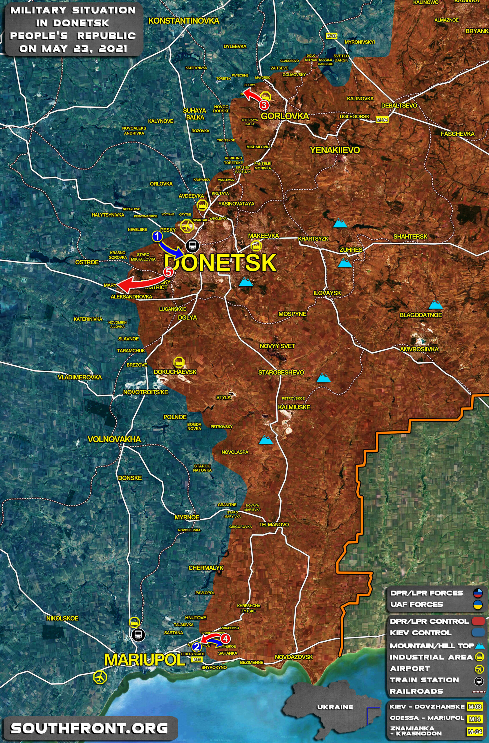 Military Situation In Donetsk People's Republic On May 23, 2021 (Map Update)