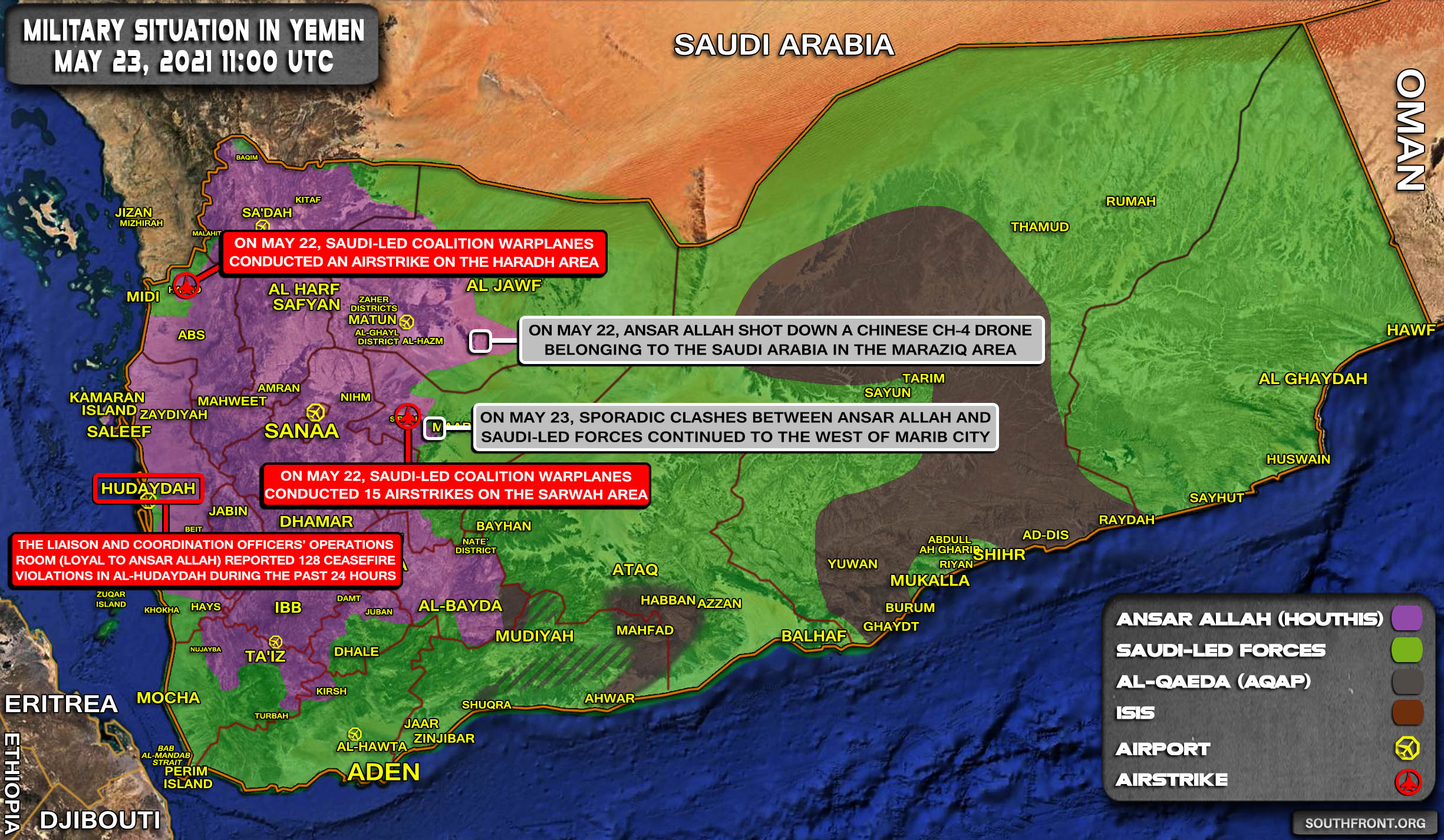 Military Situation In Yemen On May 23, 2021 (Map Update)