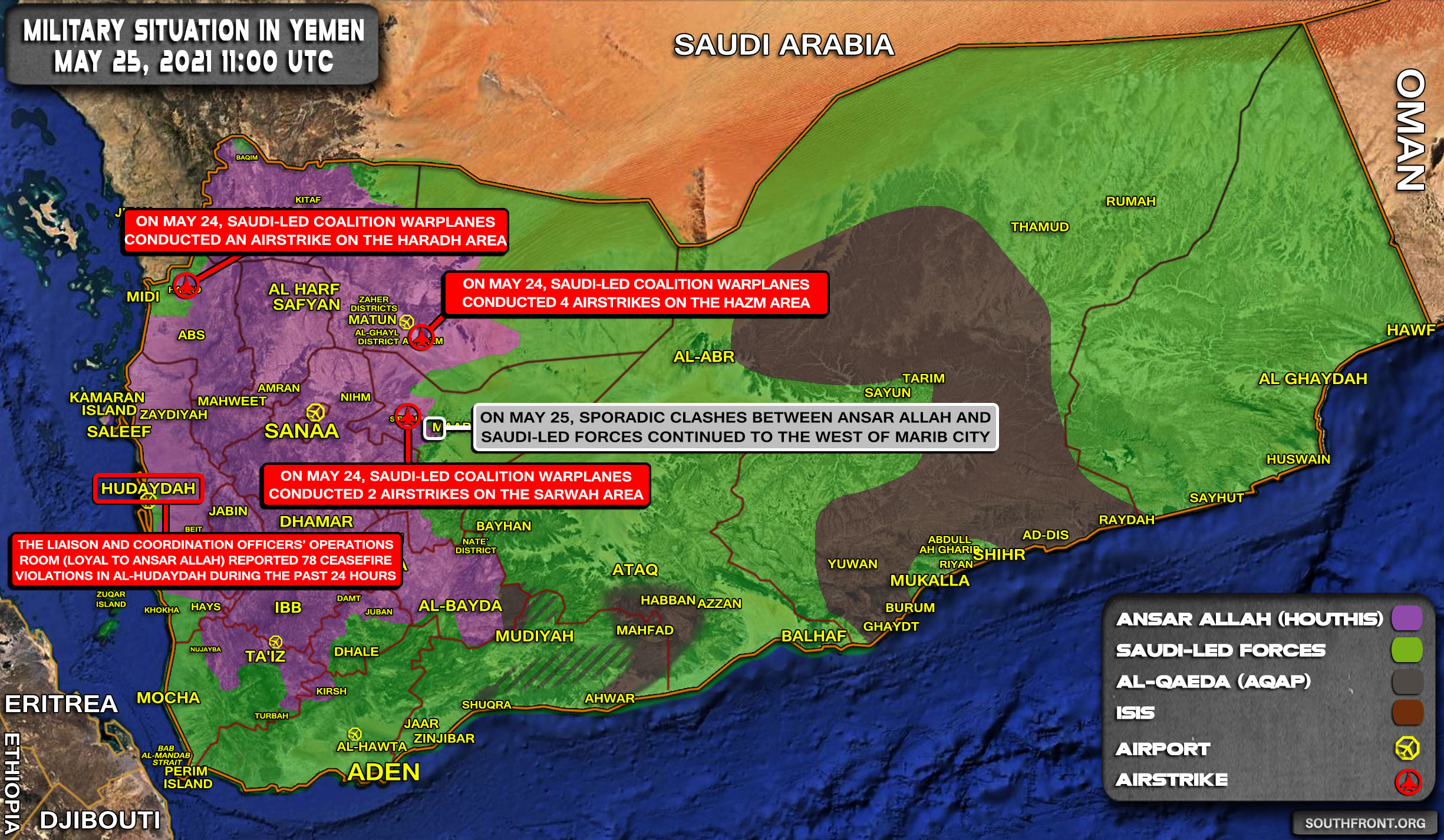 Military Situation In Yemen On May 25, 2021 (Map Update)