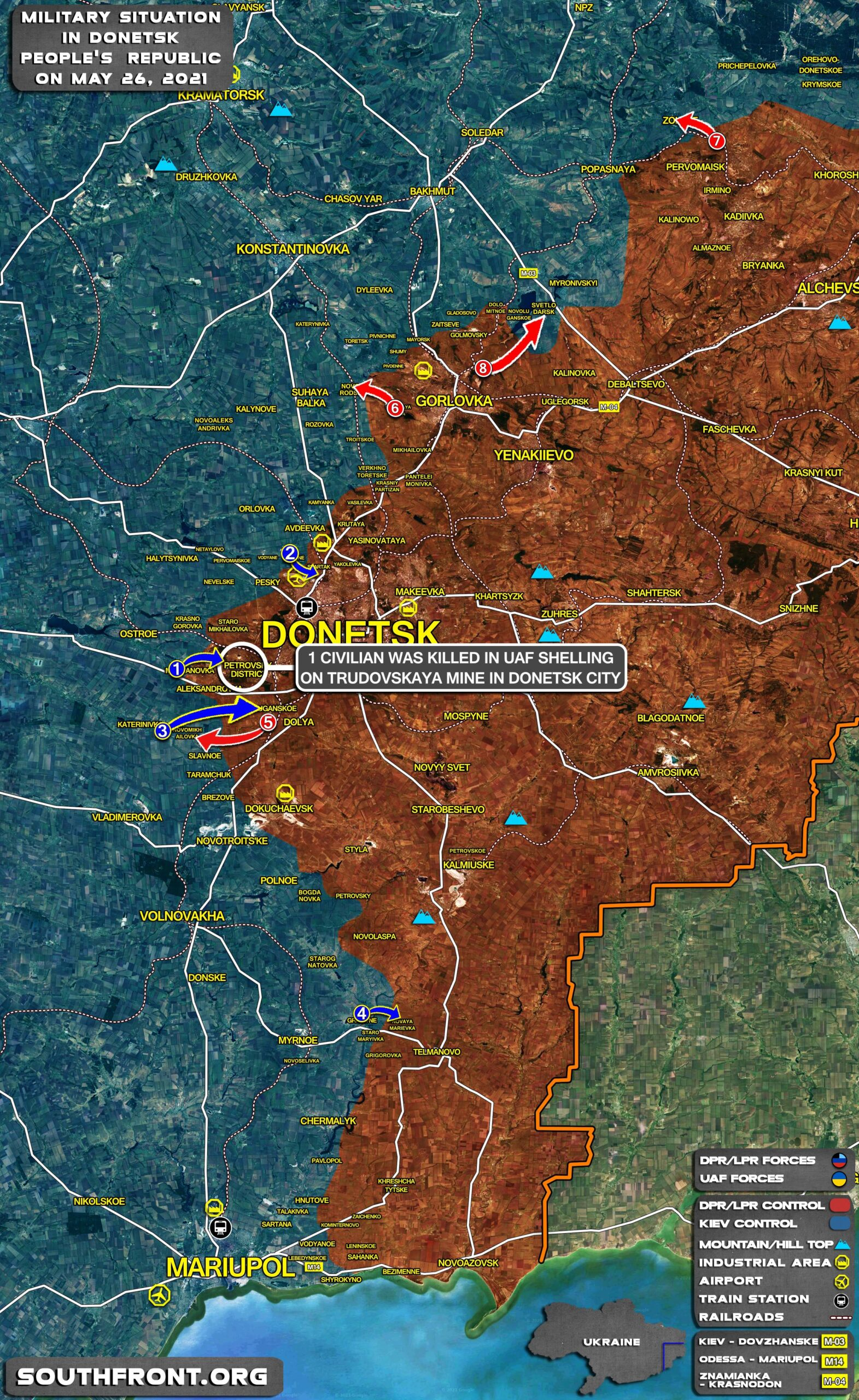 Military Situation In Donetsk People's Republic On May 26, 2021 (Map Update)