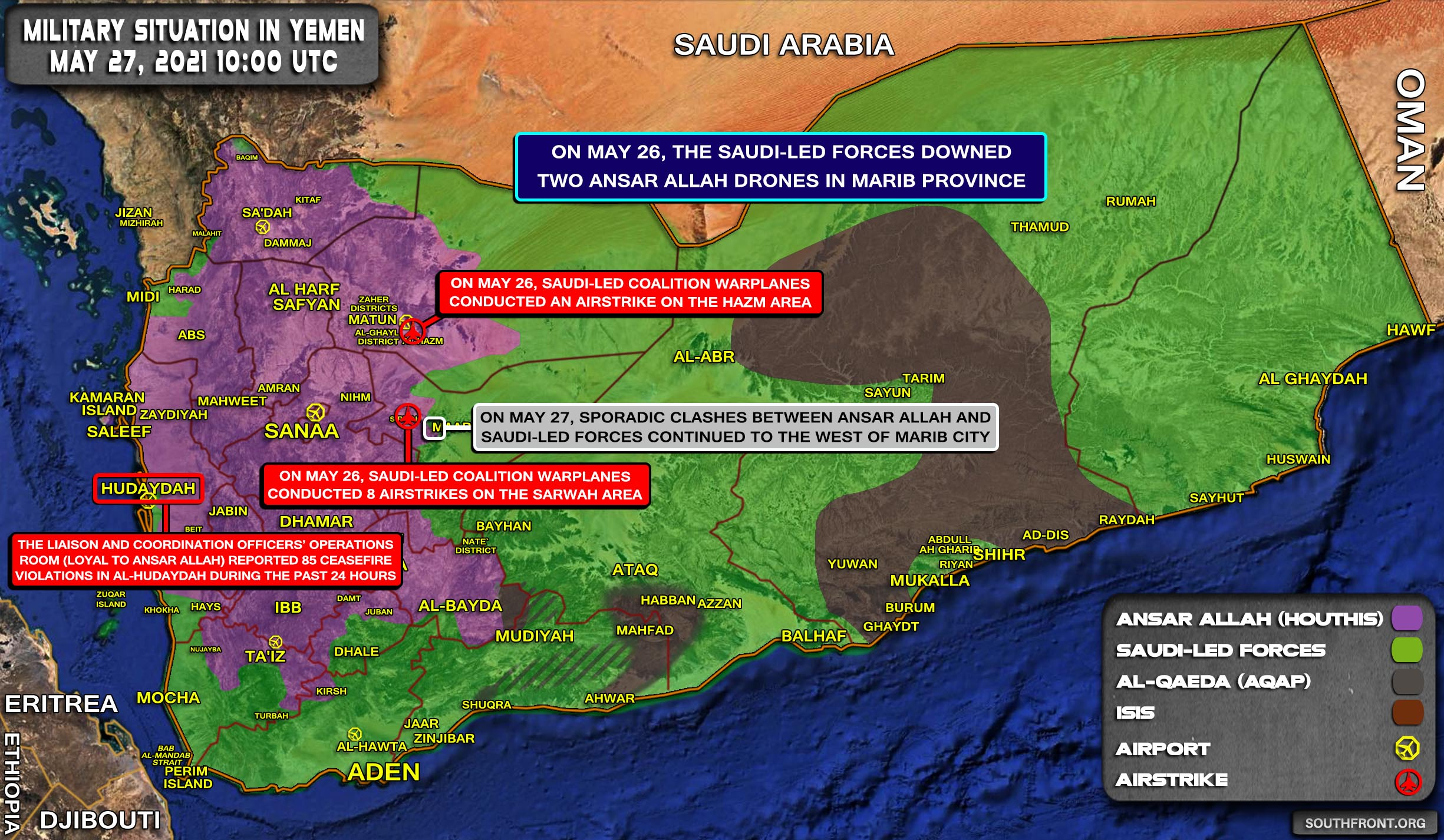 Military Situation In Yemen On May 27, 2021 (Map Update)