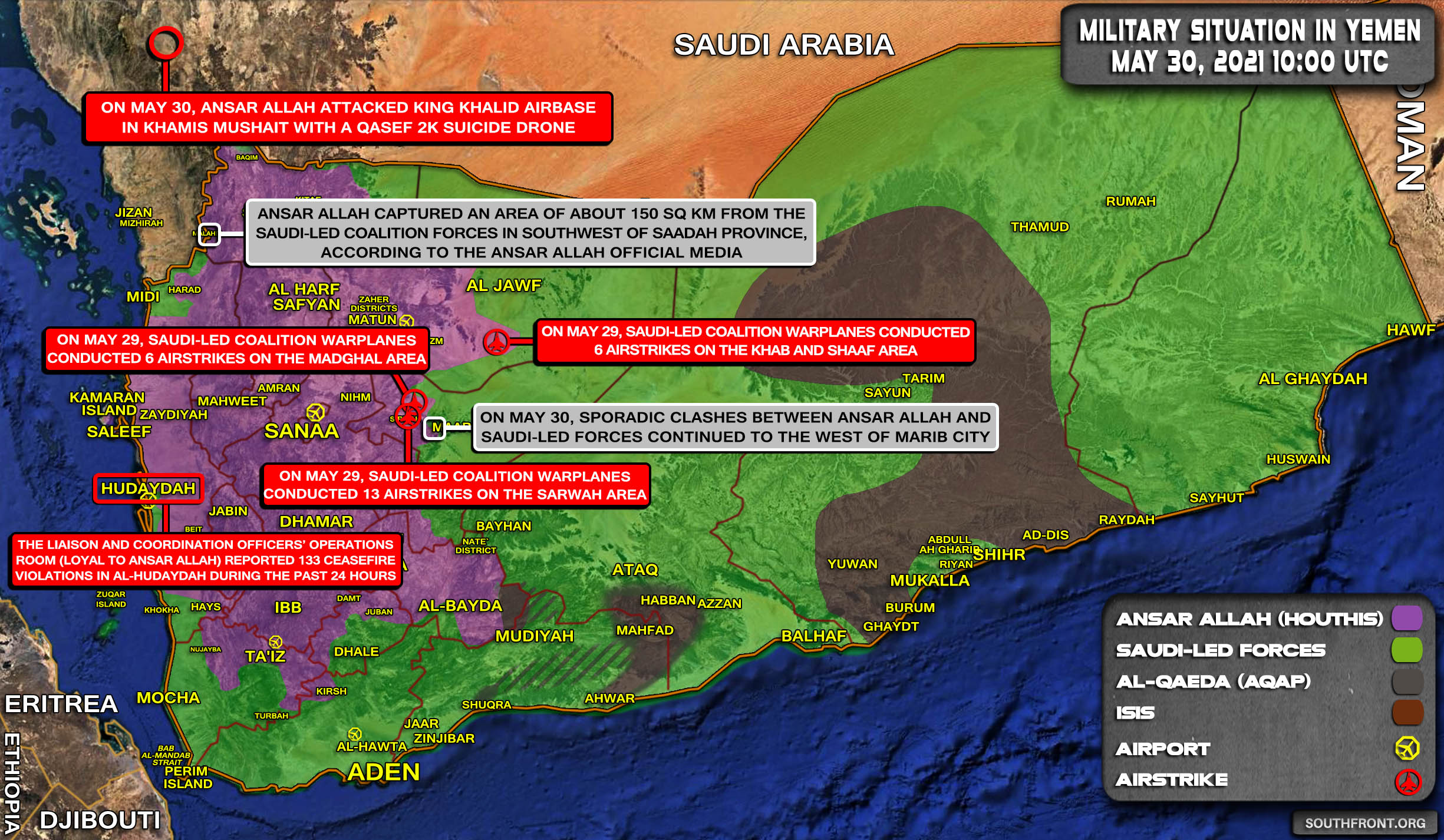 Military Situation In Yemen On May 30, 2021 (Map Update)