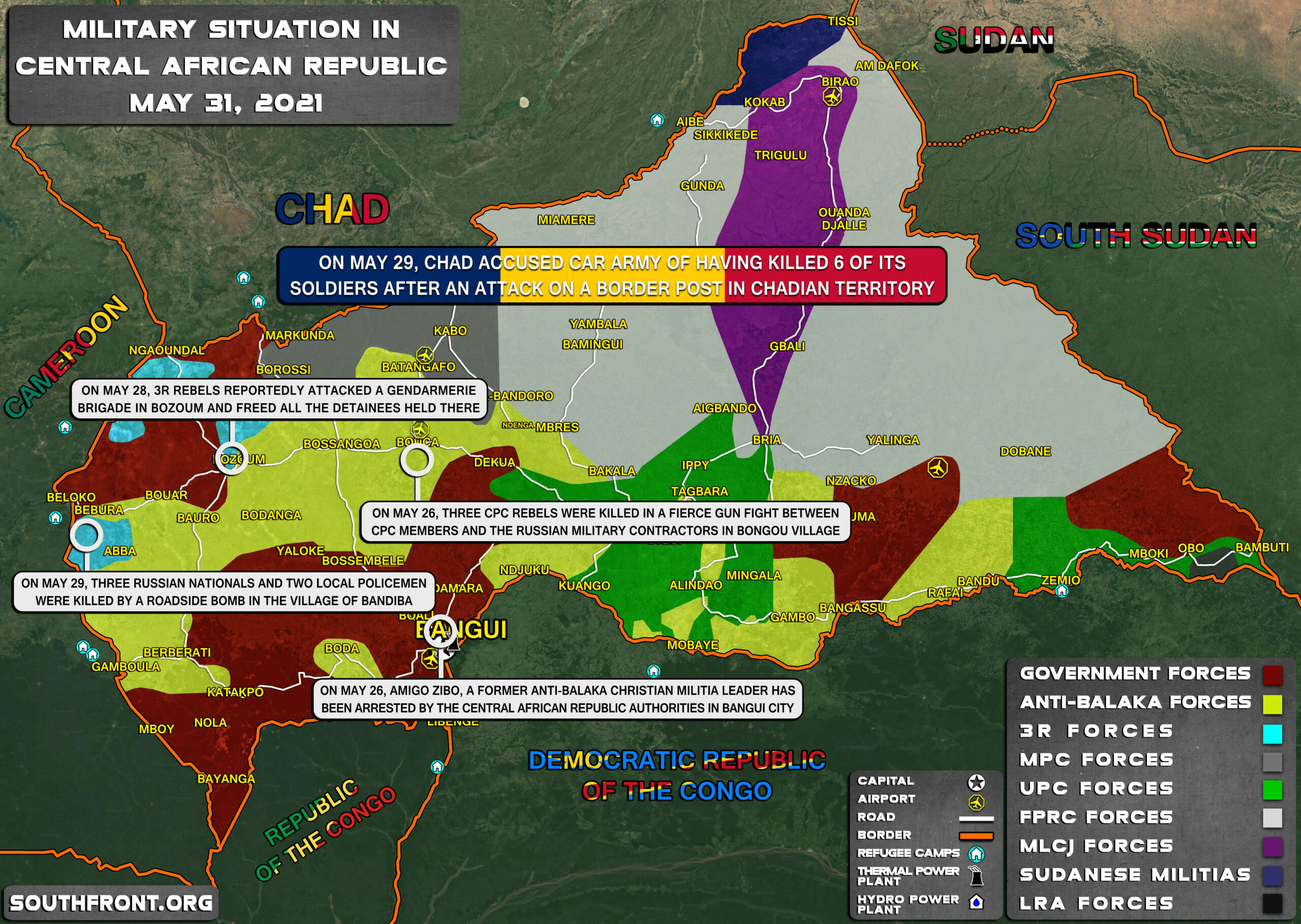 Military Situation In CAR On May 31, 2021 (Map Update)