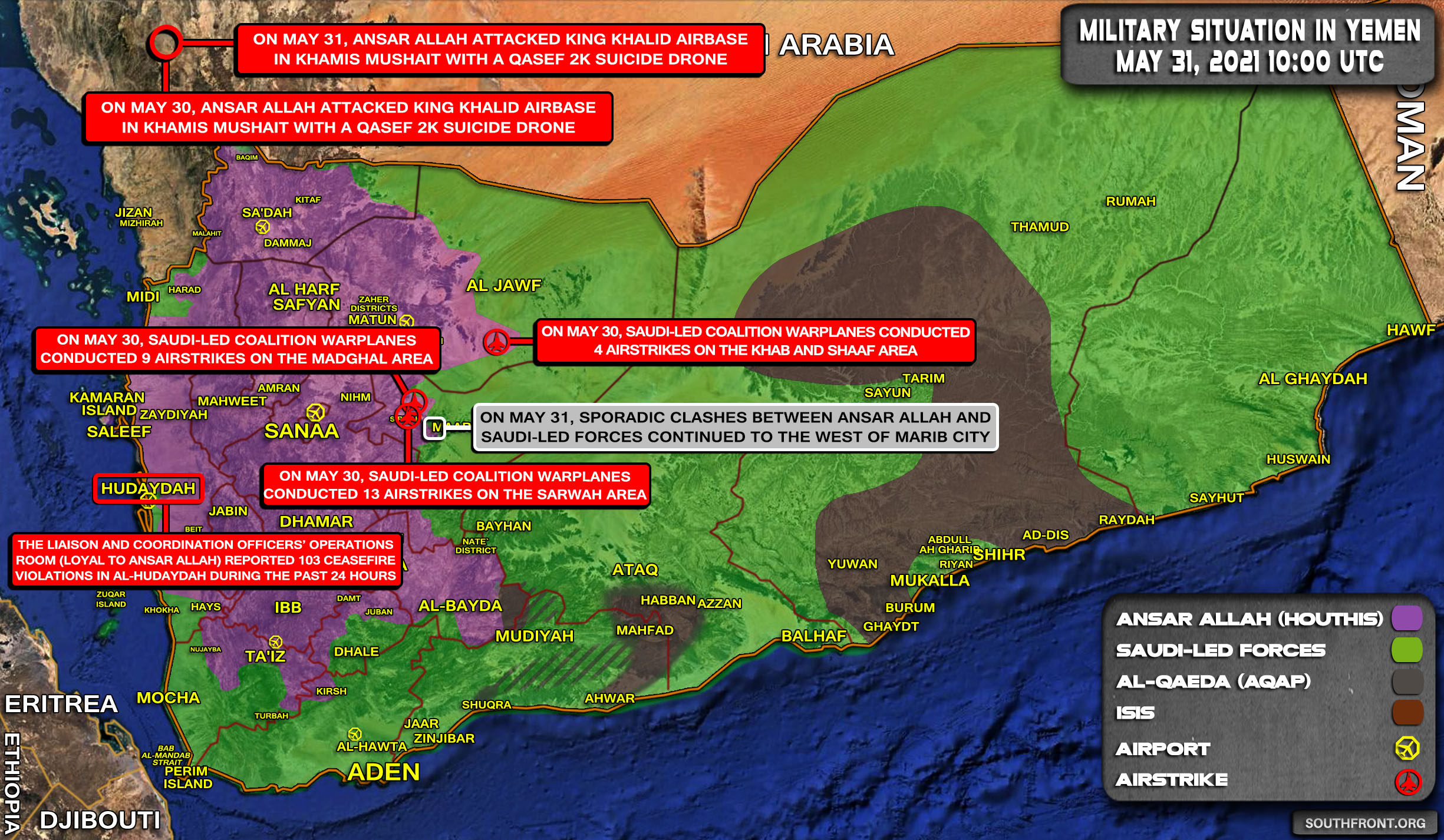 Military Situation In Yemen On May 31, 2021 (Map Update)