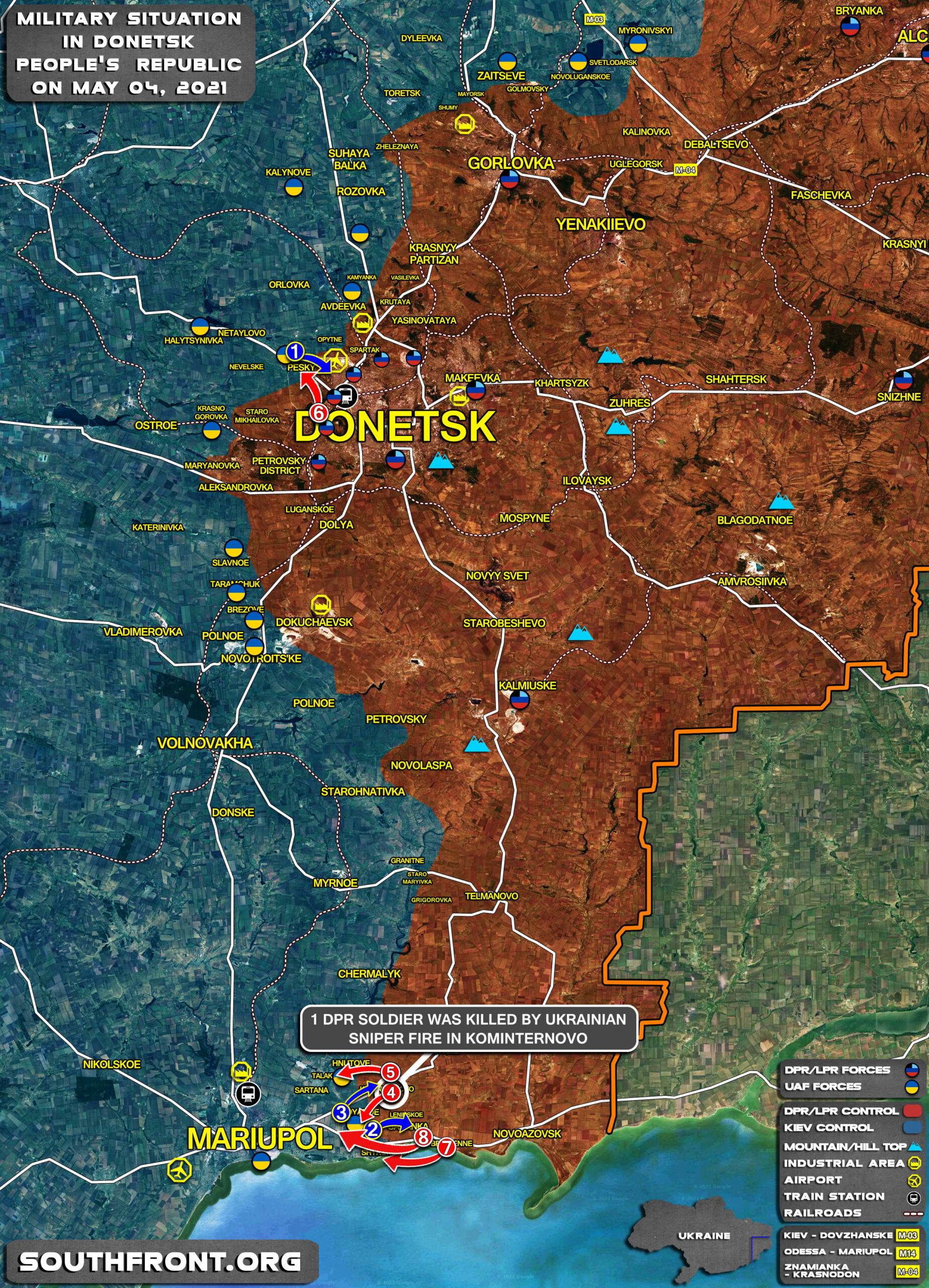 Military Situation In Donetsk People's Republic On May 4, 2021 (Map Update)
