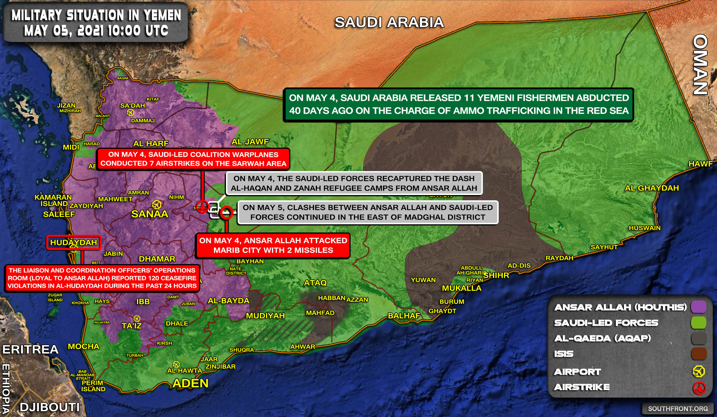 Military Situation In Yemen On May 5, 2021 (Map Update)