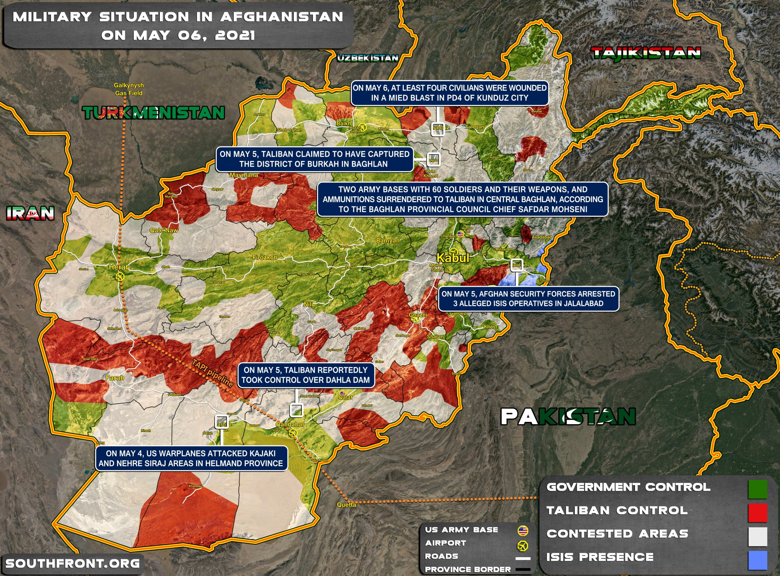 Military Situation In Afghanistan On May 6, 2021 (Map Update)