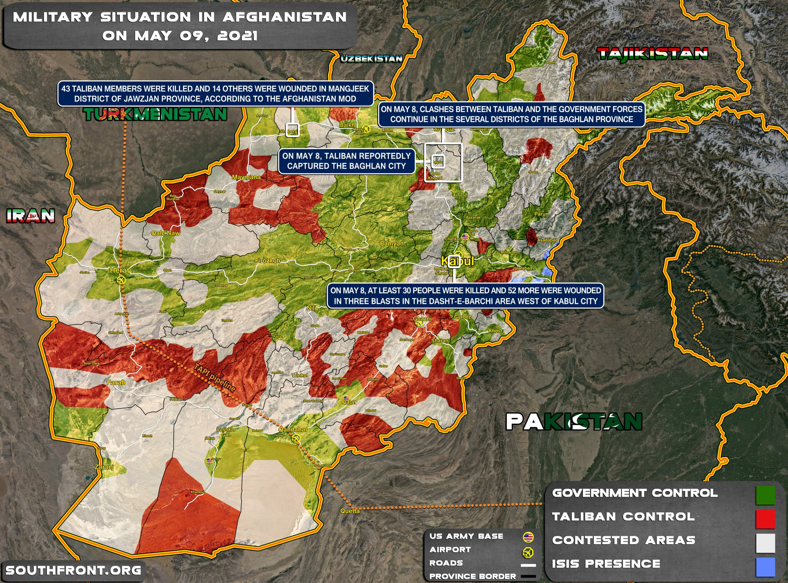 Military Situation In Afghanistan On May 9, 2021 (Map Update)