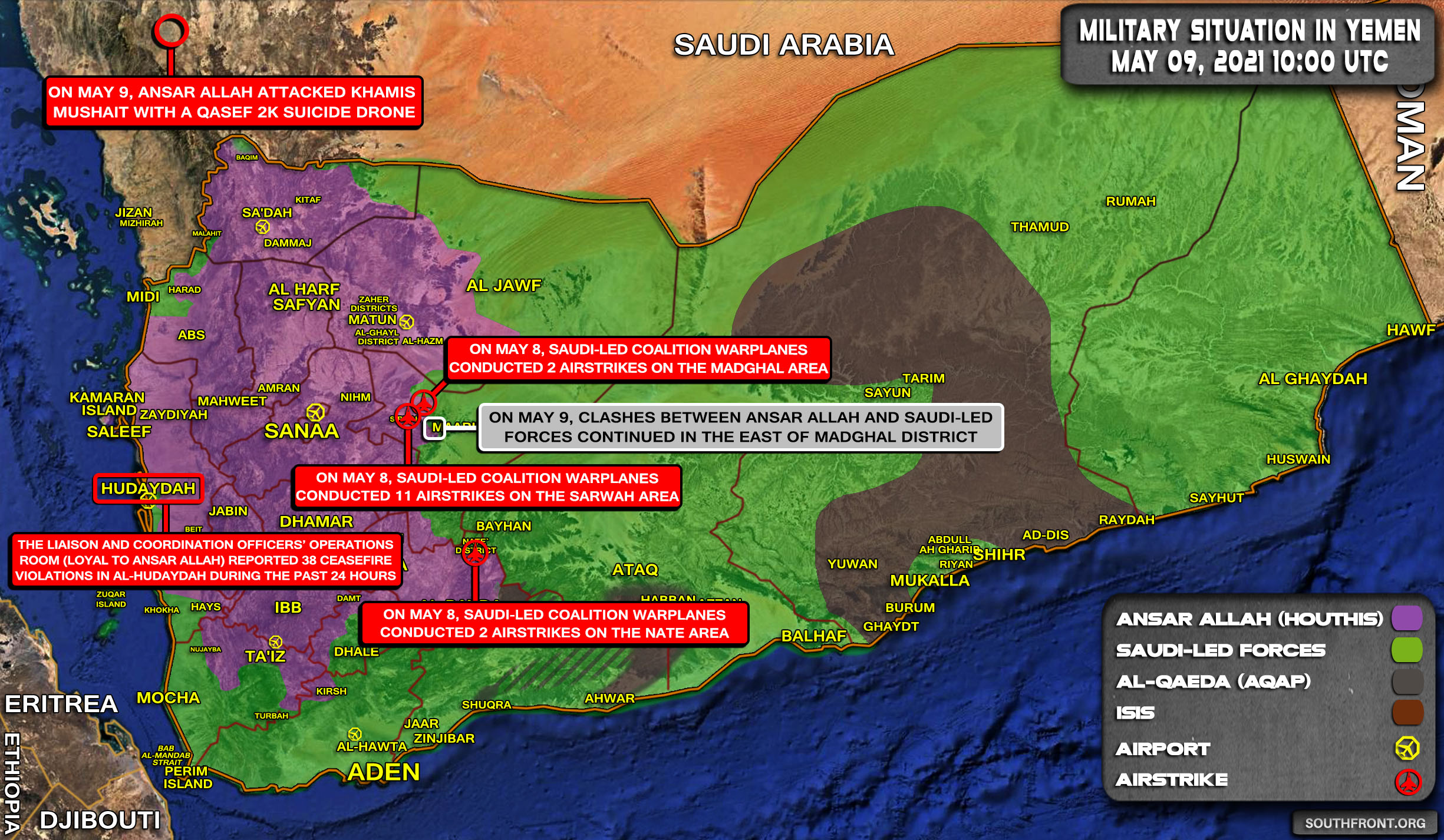 Military Situation In Yemen On May 9, 2021 (Map Update)