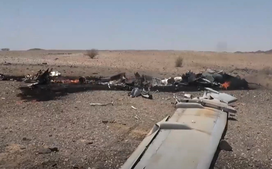 Houthis Showcase Wreckage Of Combat Drone Shot Down On Yemeni-Saudi Border