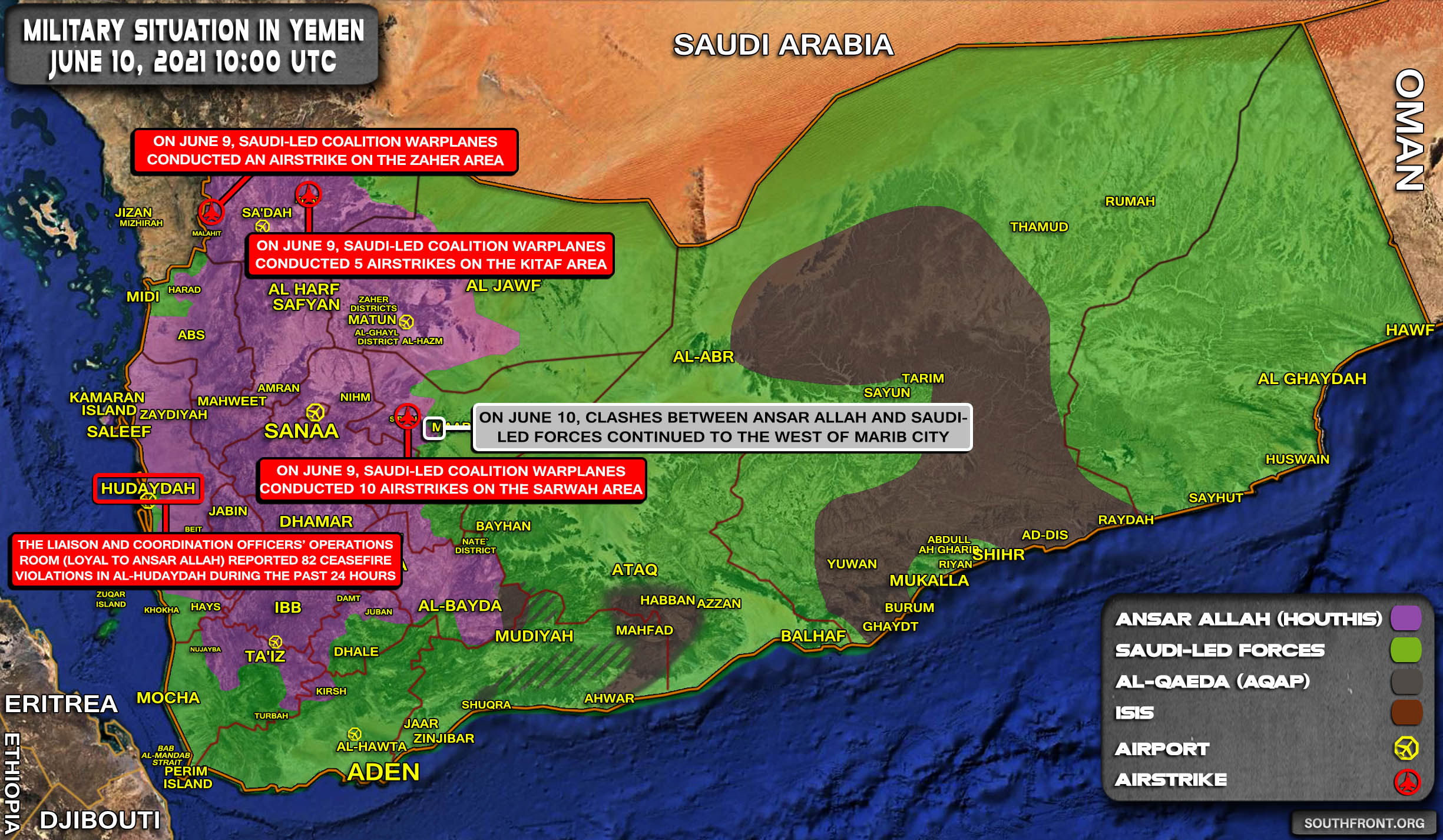 Military Situation In Yemen On June 10, 2021 (Map Update)