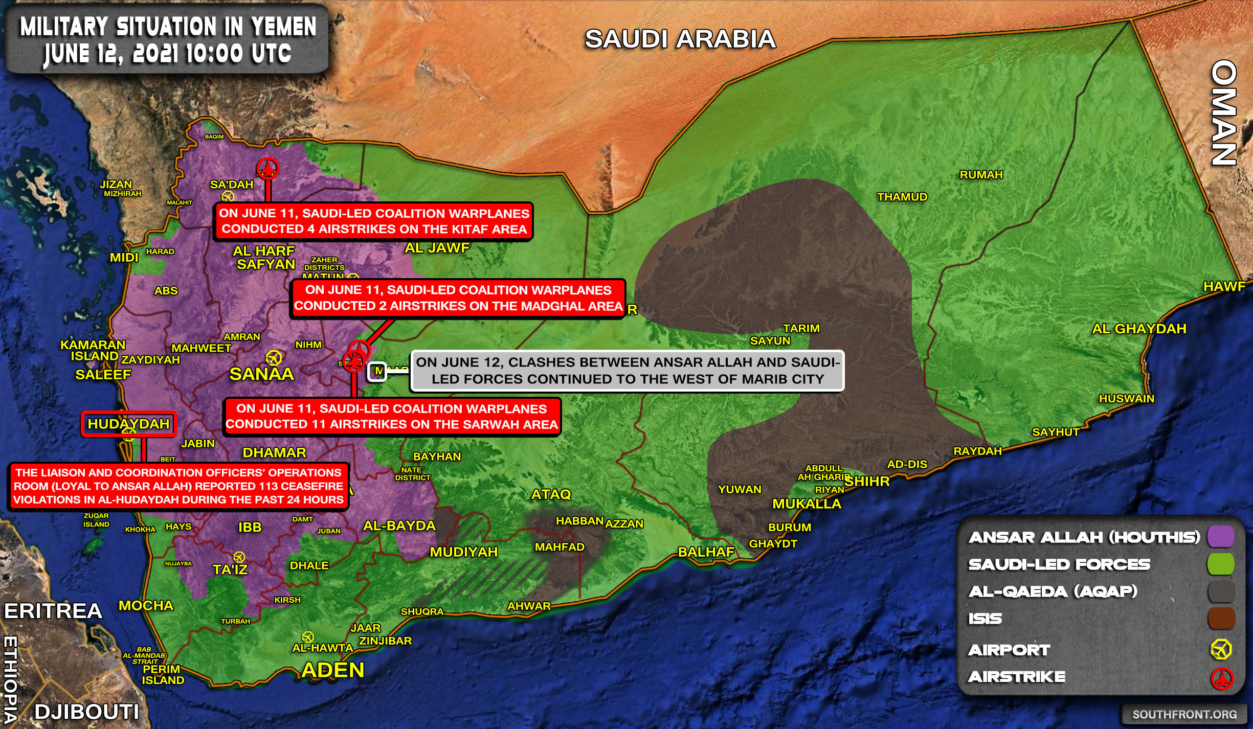 Military Situation In Yemen On June 12, 2021 (Map Update)