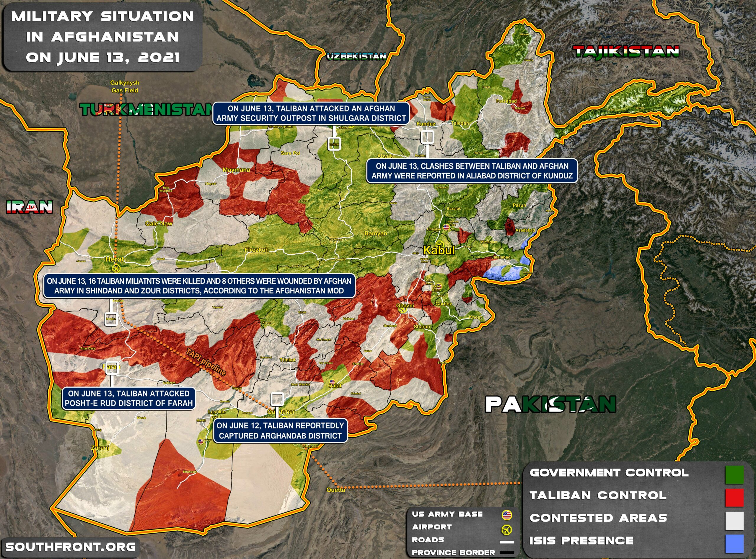 Military Situation In Afghanistan On June 13, 2021 (Map Update)
