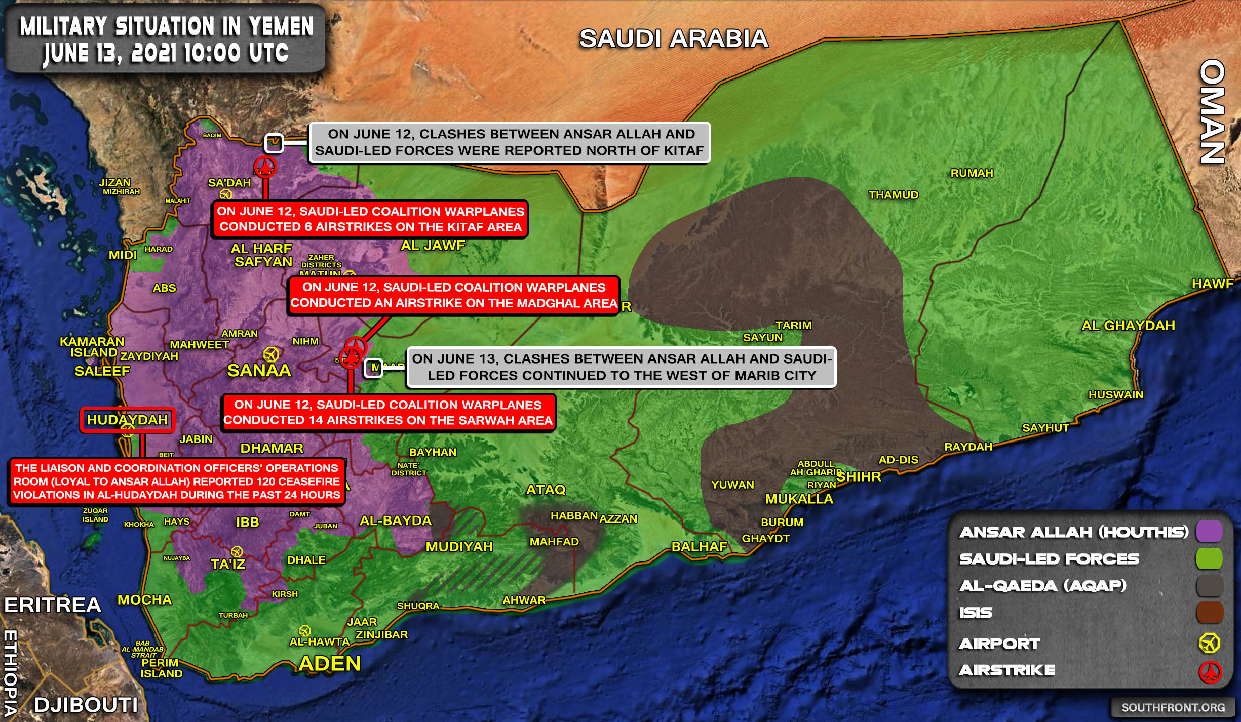 Military Situation In Yemen On June 13, 2021 (Map Update)