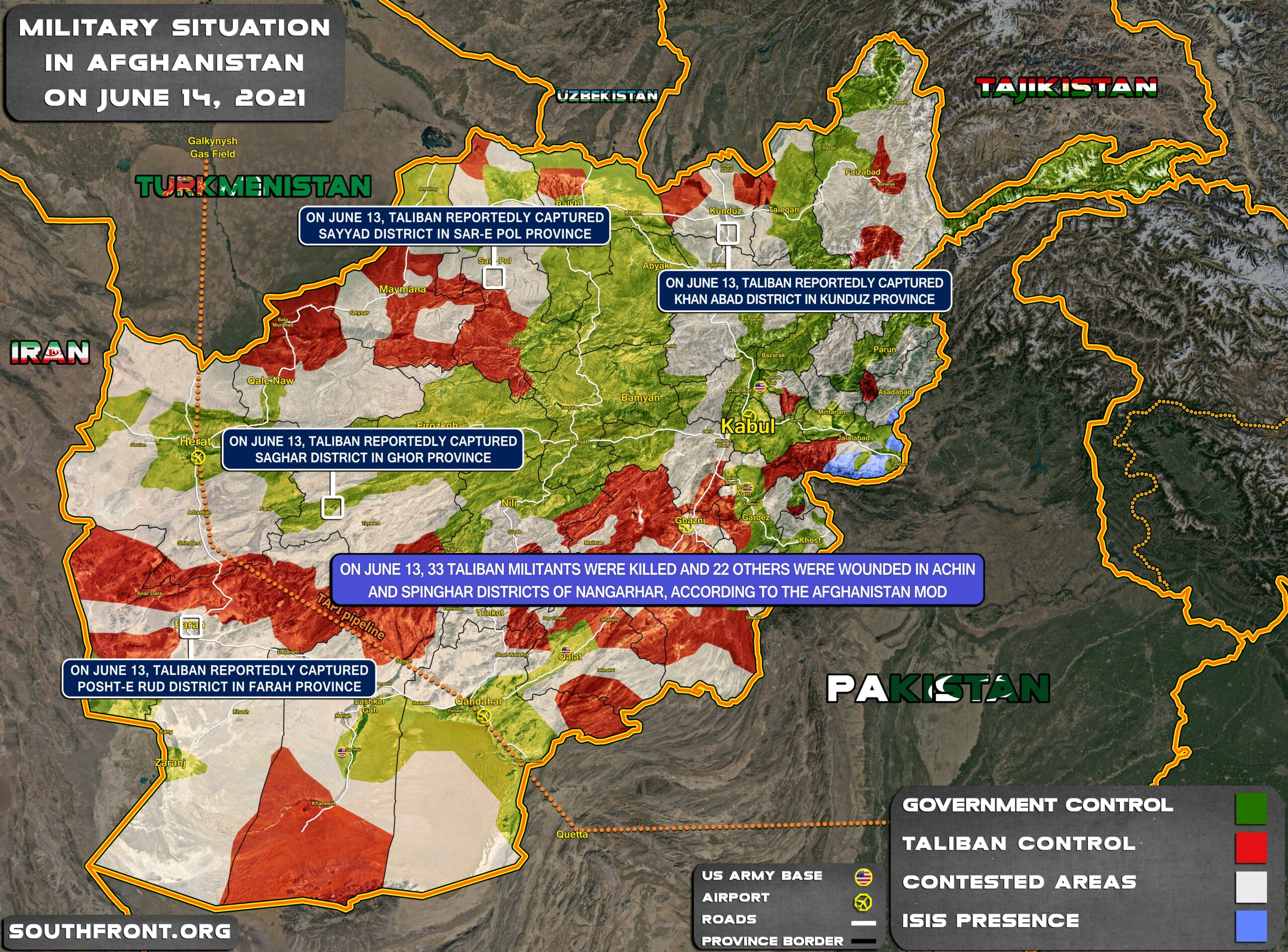 Military Situation In Afghanistan On June 14, 2021 (Map Update)