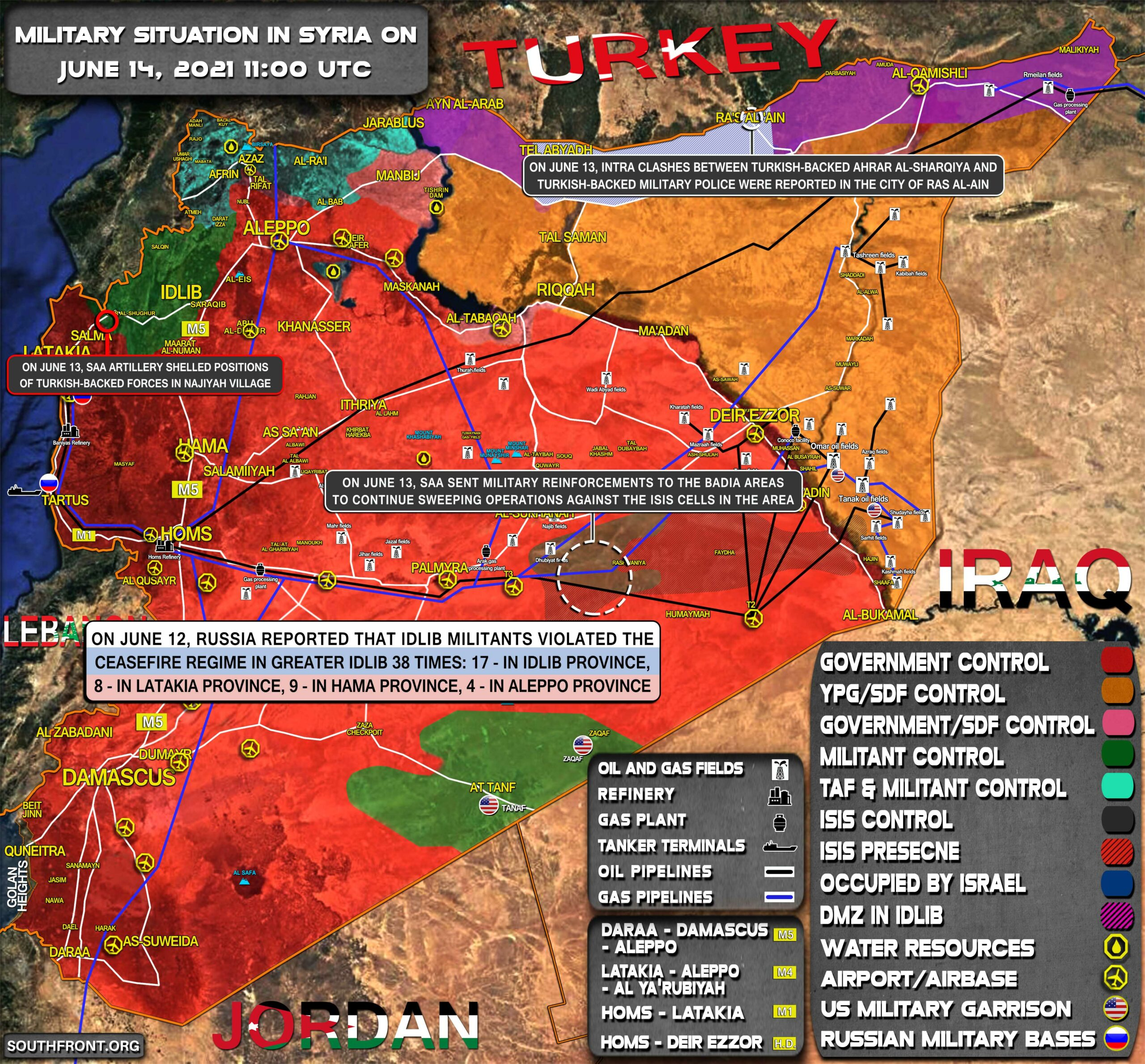 Military Situation In Syria On June 14, 2021 (Map Update)
