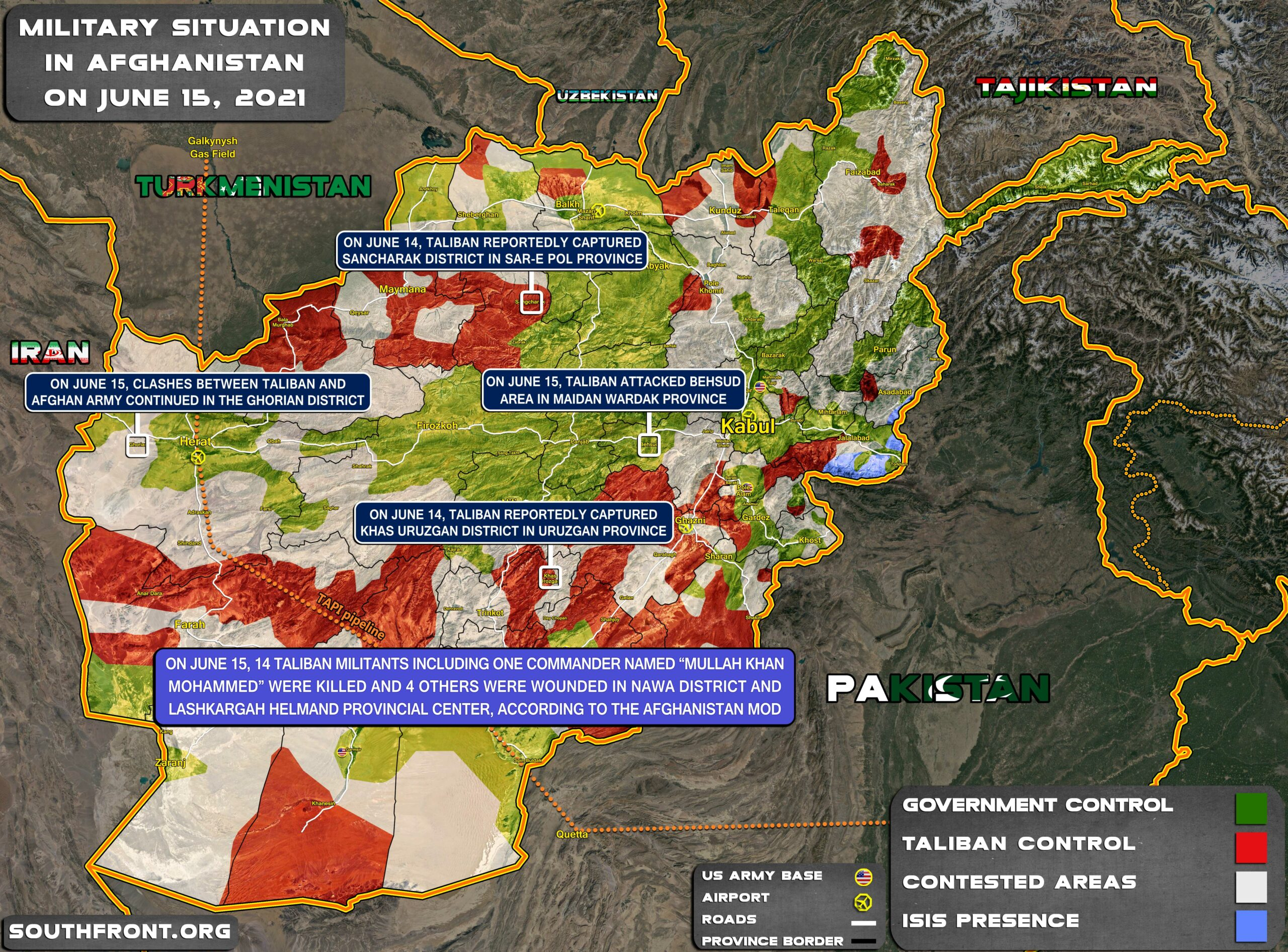 Military Situation In Afghanistan On June 15, 2021 (Map Update)