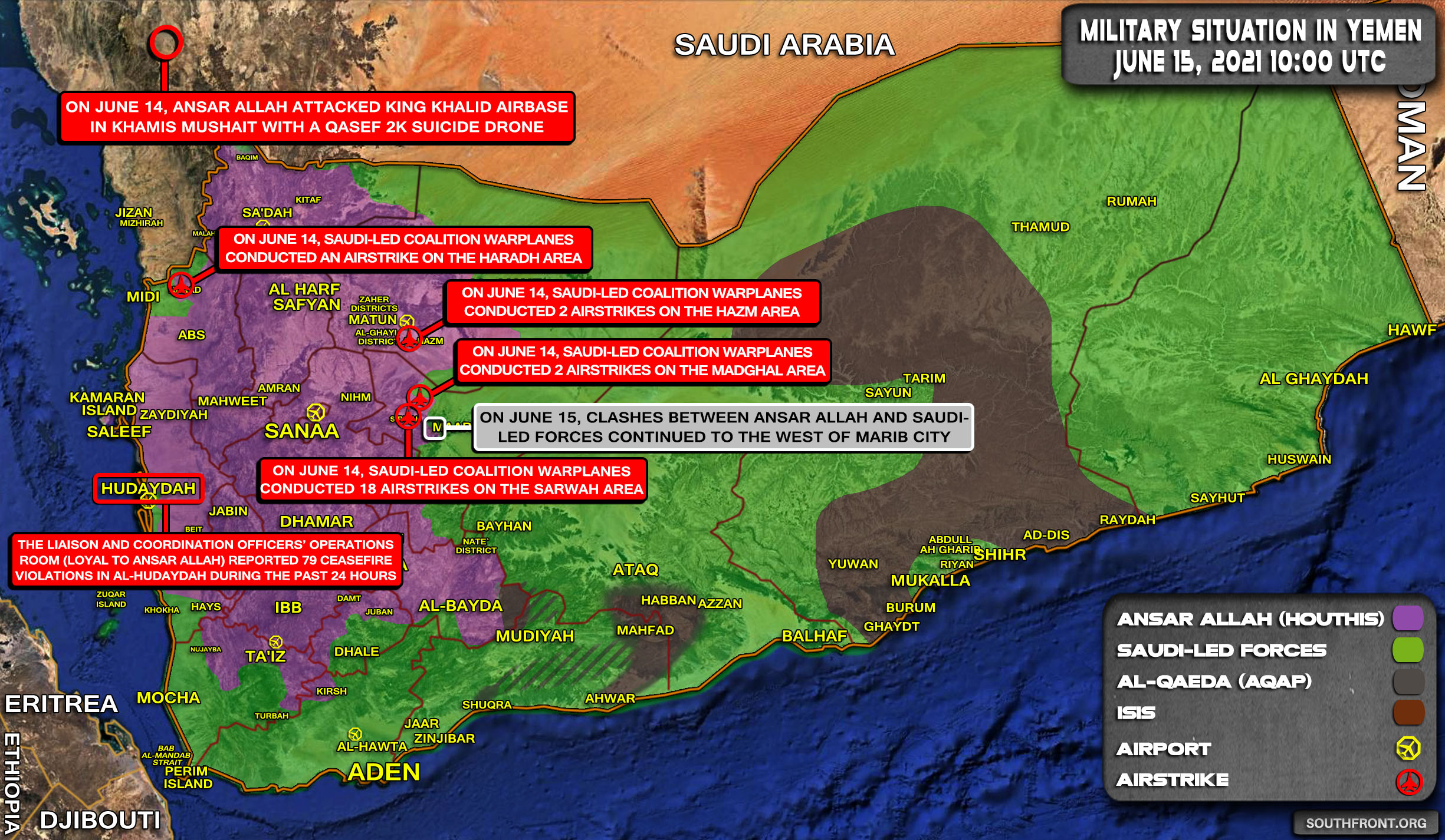 Military Situation In Yemen On June 15, 2021 (Map Update)