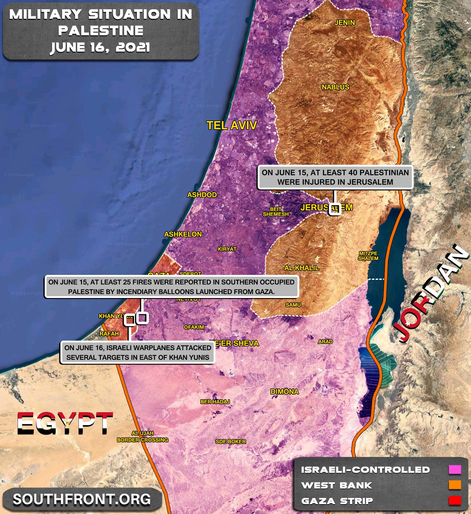Military Situation In The Gaza Strip And West Bank On June 16, 2021 (Map Update)