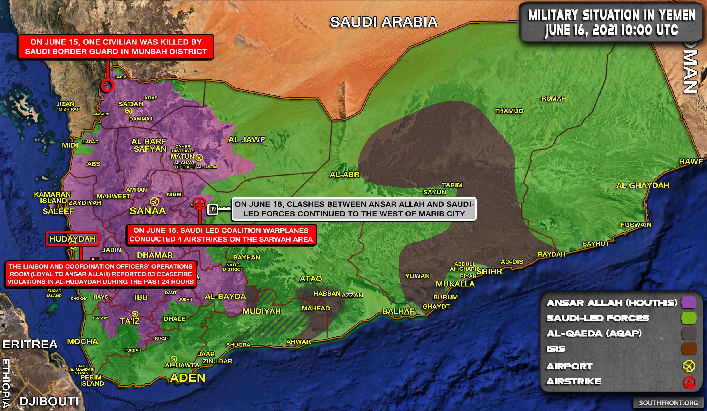 Military Situation In Yemen On June 16, 2021 (Map Update)